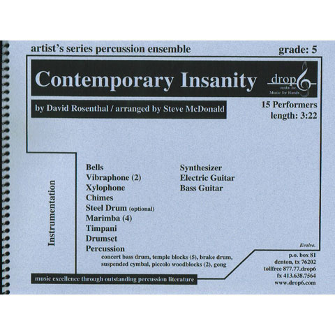 Contemporary Insanity by David Rosenthal arr. McDonald