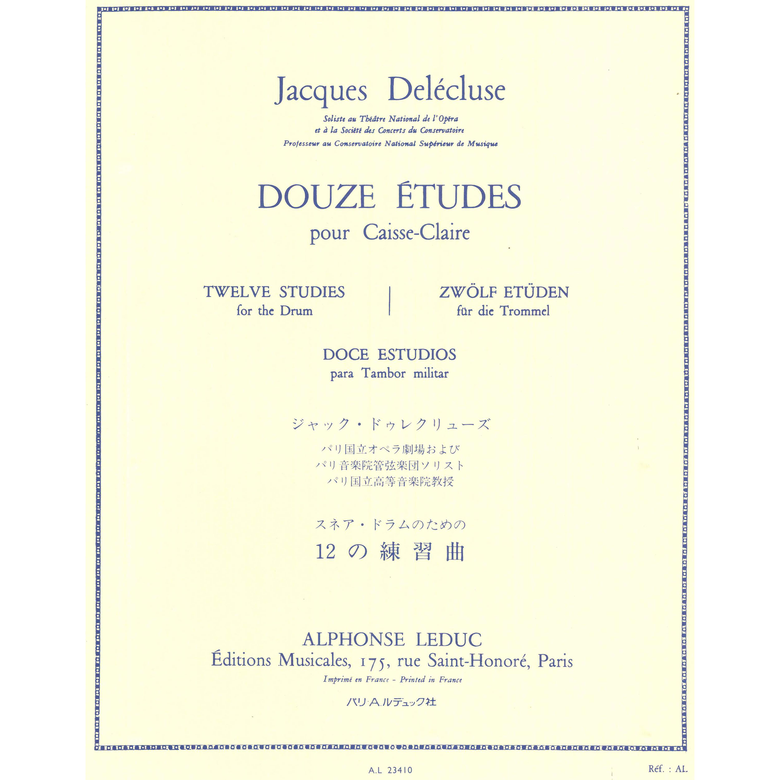 Douze Etudes (Twelve Studies) for Snare Drum by Jacques Delecluse