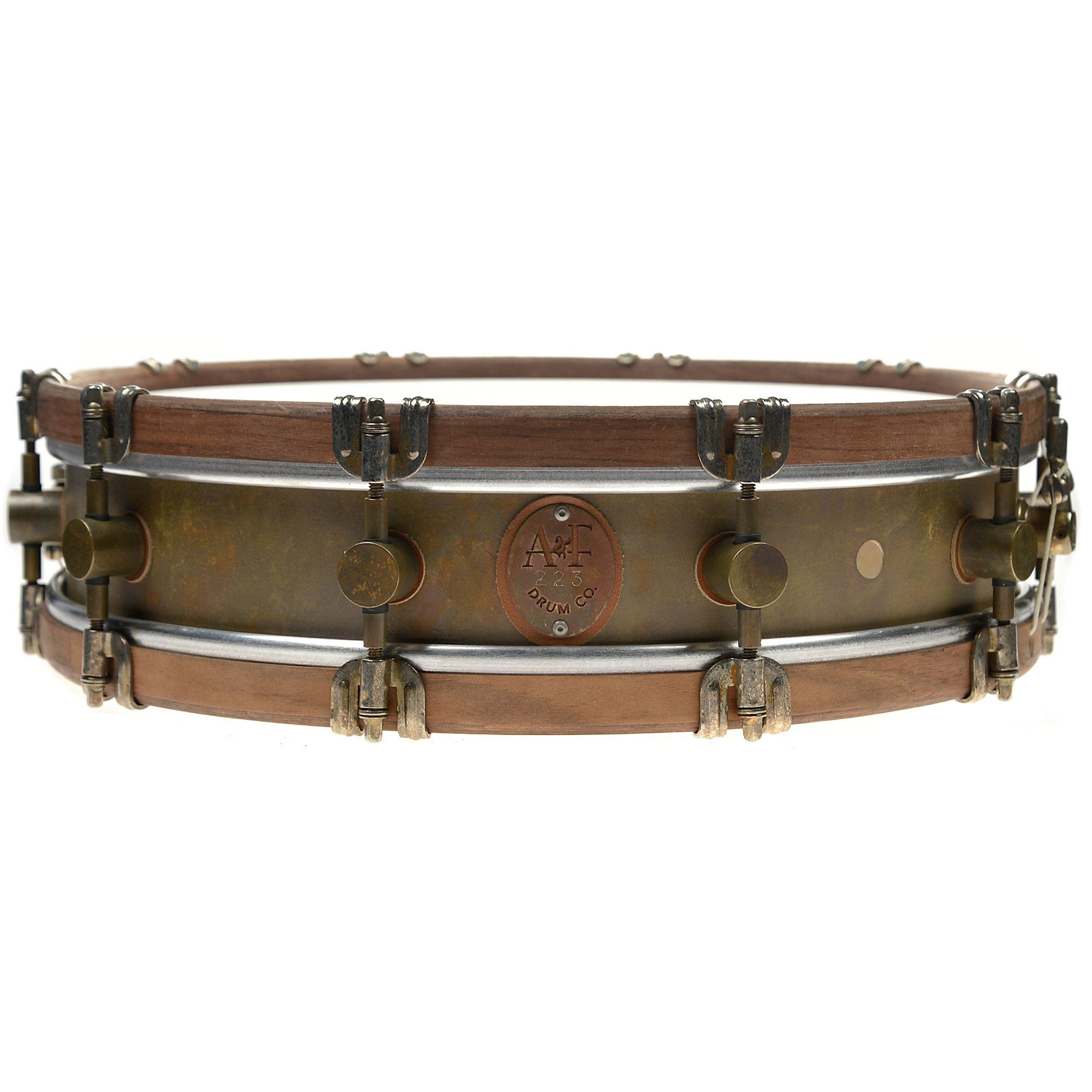 "A&F Drum Co. 3.5"" x 15"" Limited Edition Raw Brass Snare Drum with European Walnut Hoops"
