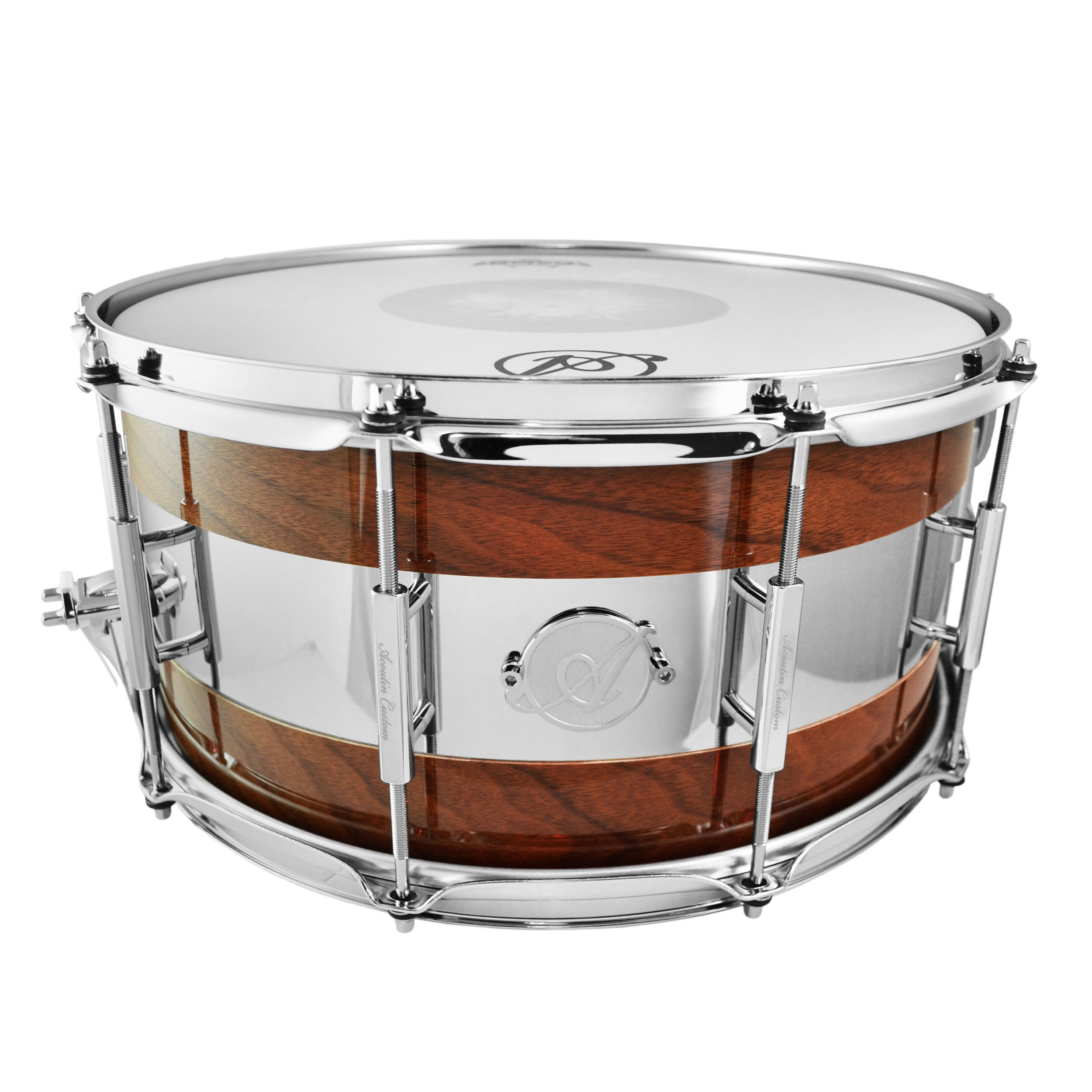 "Acoutin 6.5"" x 14"" Grey Ironbark & Brushed Stainless Steel Snare Drum in High Gloss"