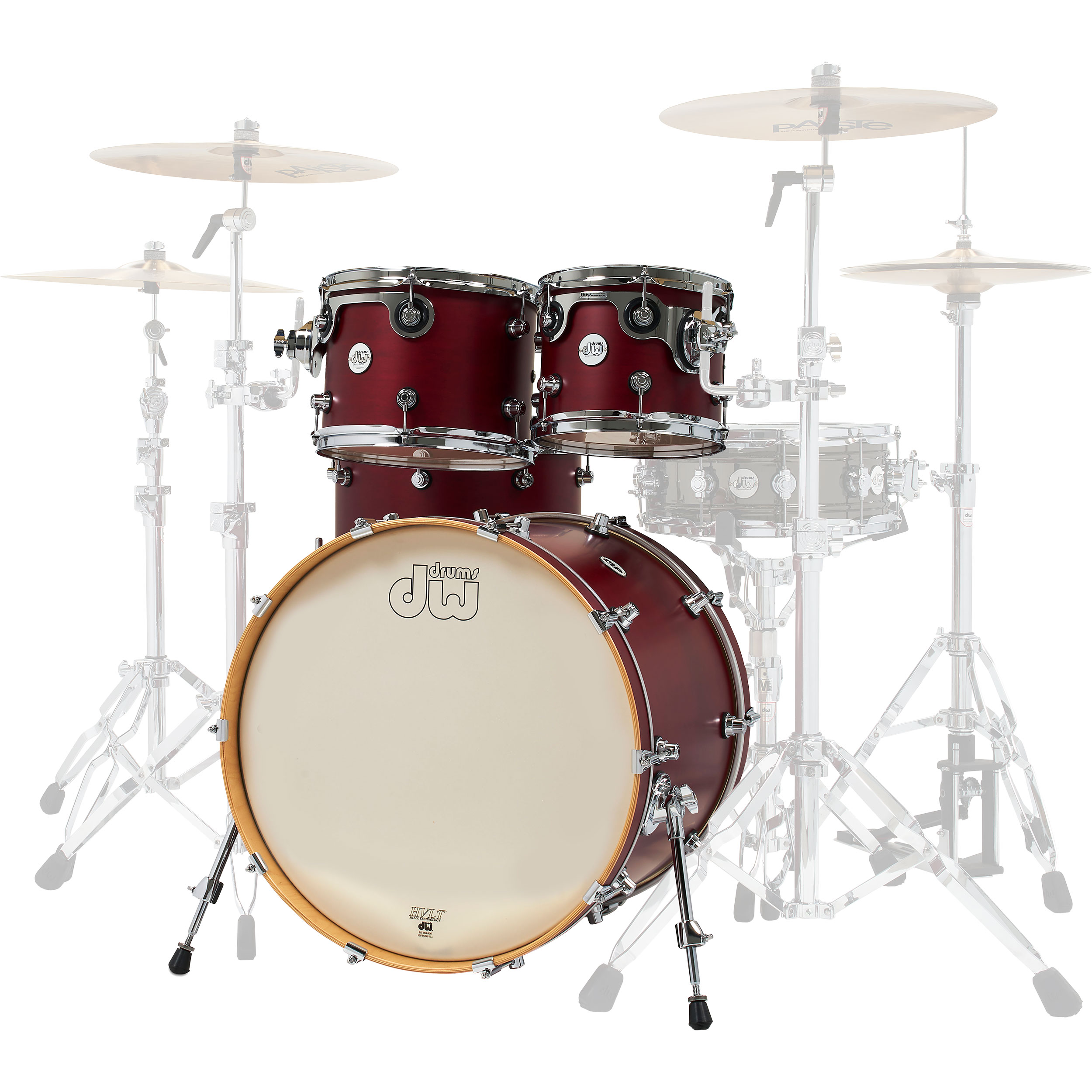 "DW Limited Edition Design Series 4-Piece Drum Set Shell Pack in Dark Cherry (22"" Bass, 10/12/16"" Toms)"