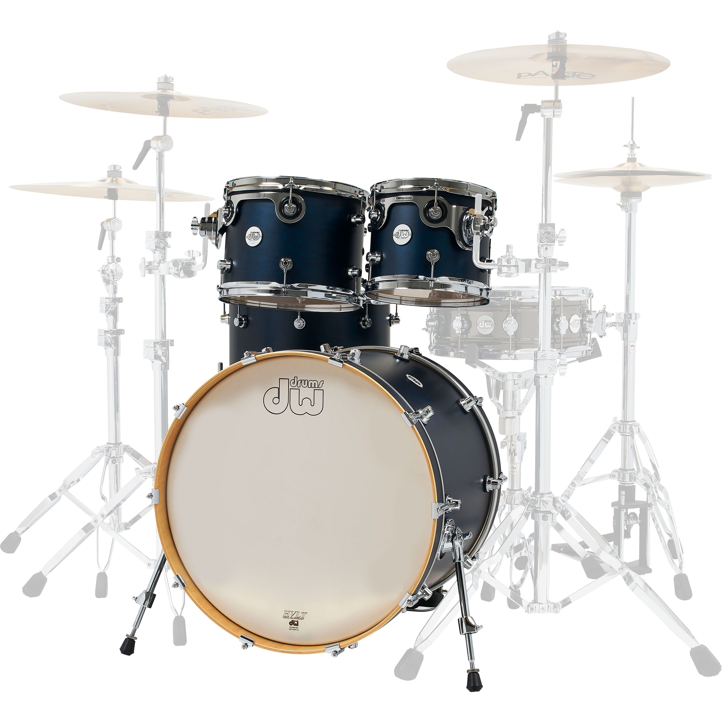 "DW Limited Edition Design Series 4-Piece Drum Set Shell Pack in Midnight Blue (22"" Bass, 10/12/16"" Toms)"