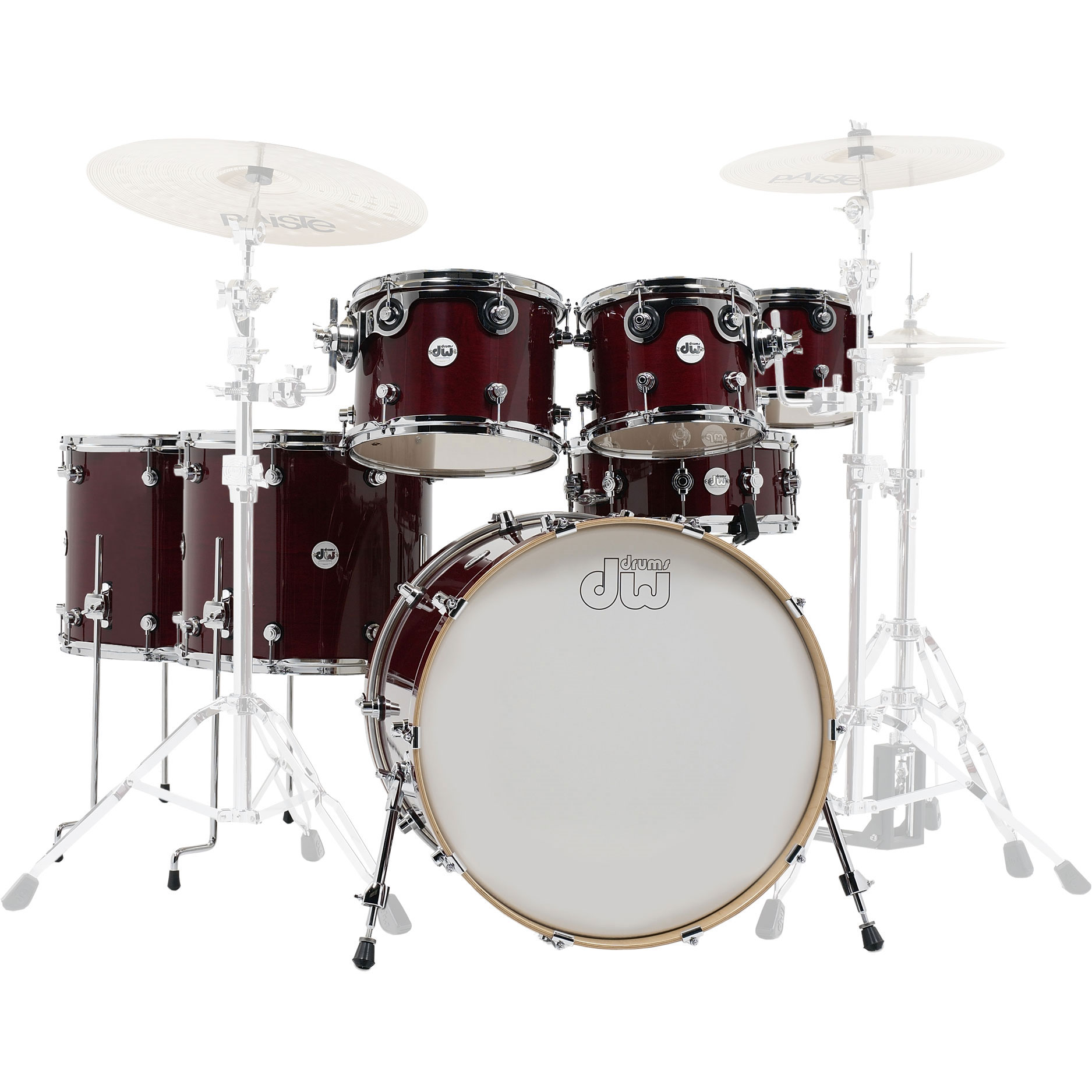 "DW Design 7-Piece Drum Set Shell Pack (22"" Bass, 8/10/12/14/16"" Toms, 14"" Snare) in Cherry Stain Lacquer"