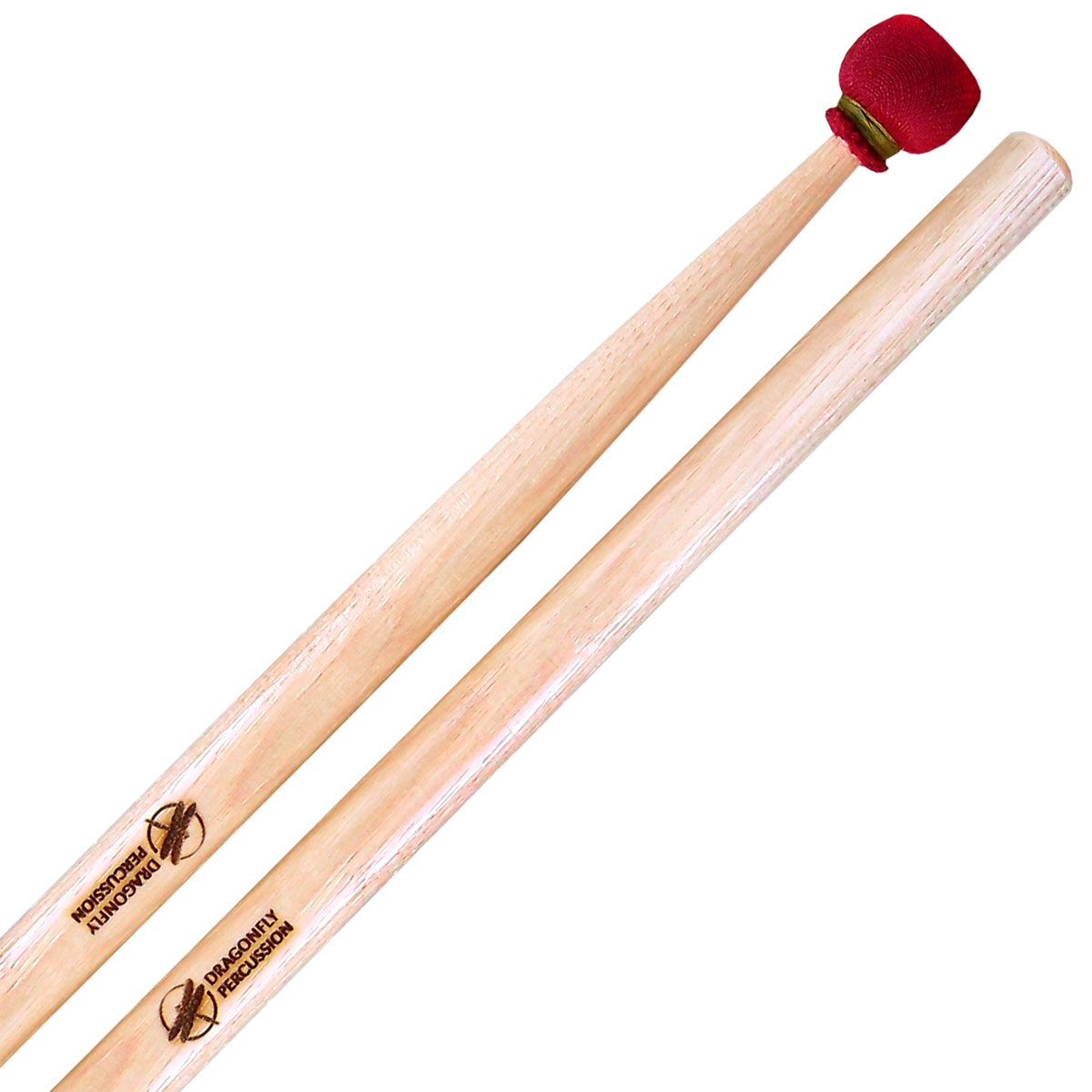 Dragonfly Percussion Hard Suspended Cymbal Mallets with Hickory Handles