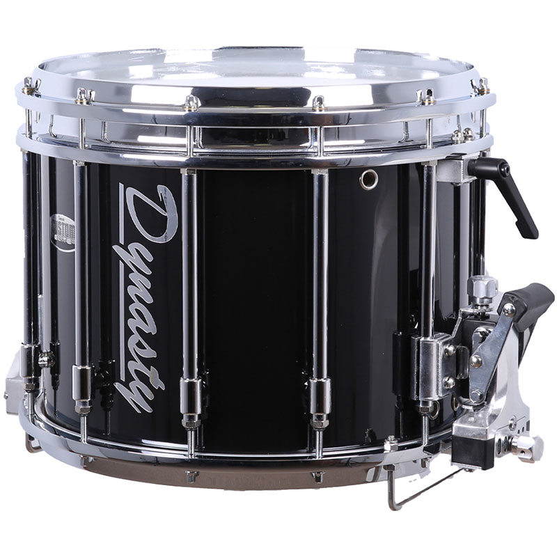 "Dynasty 14"" x 12"" Custom Elite DFZ Double Marching Snare Drum in Black with Chrome Hardware"