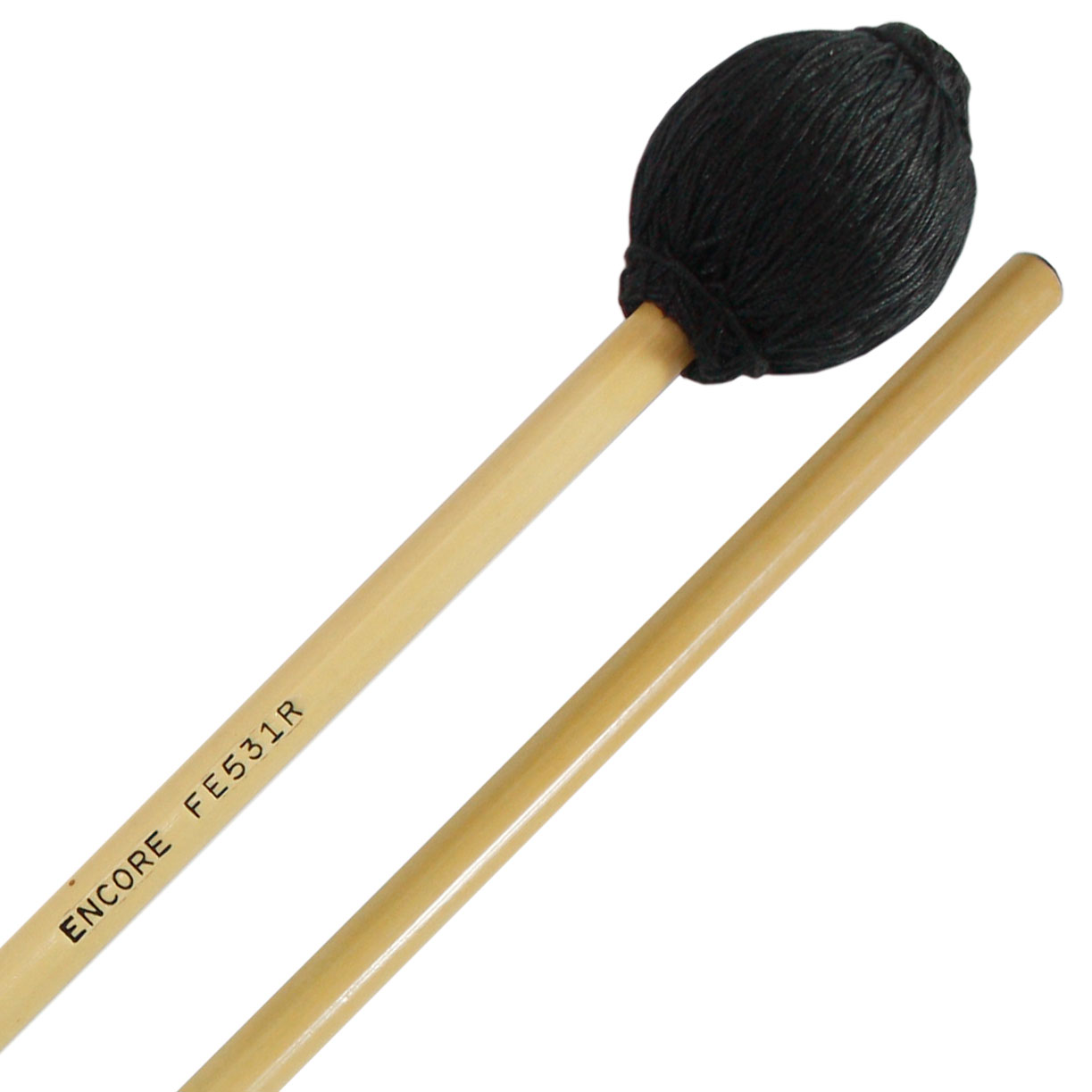 Encore Black Yarn Medium Front Ensemble Keyboard Mallets with Rattan Shafts