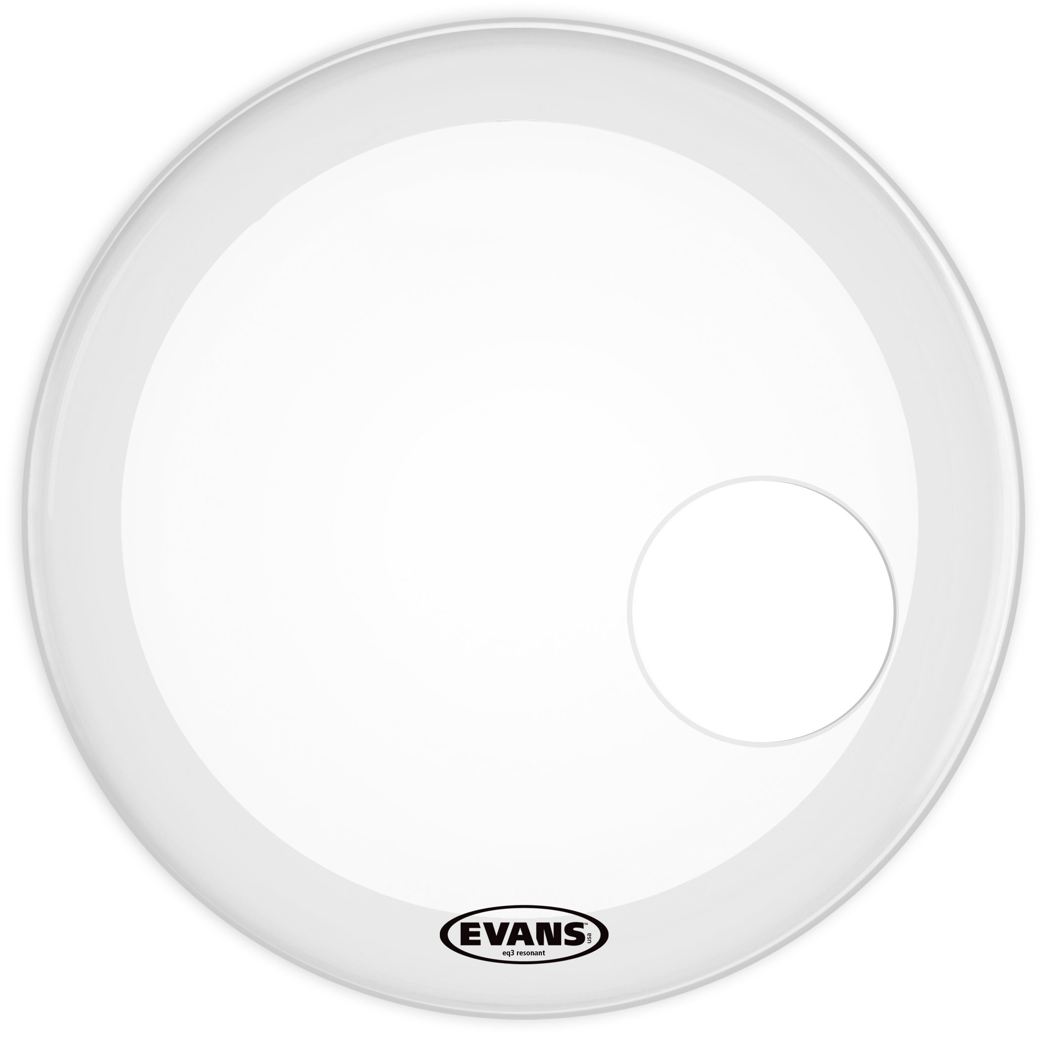 "Evans 22"" EQ3 Resonant Smooth White Bass Head"