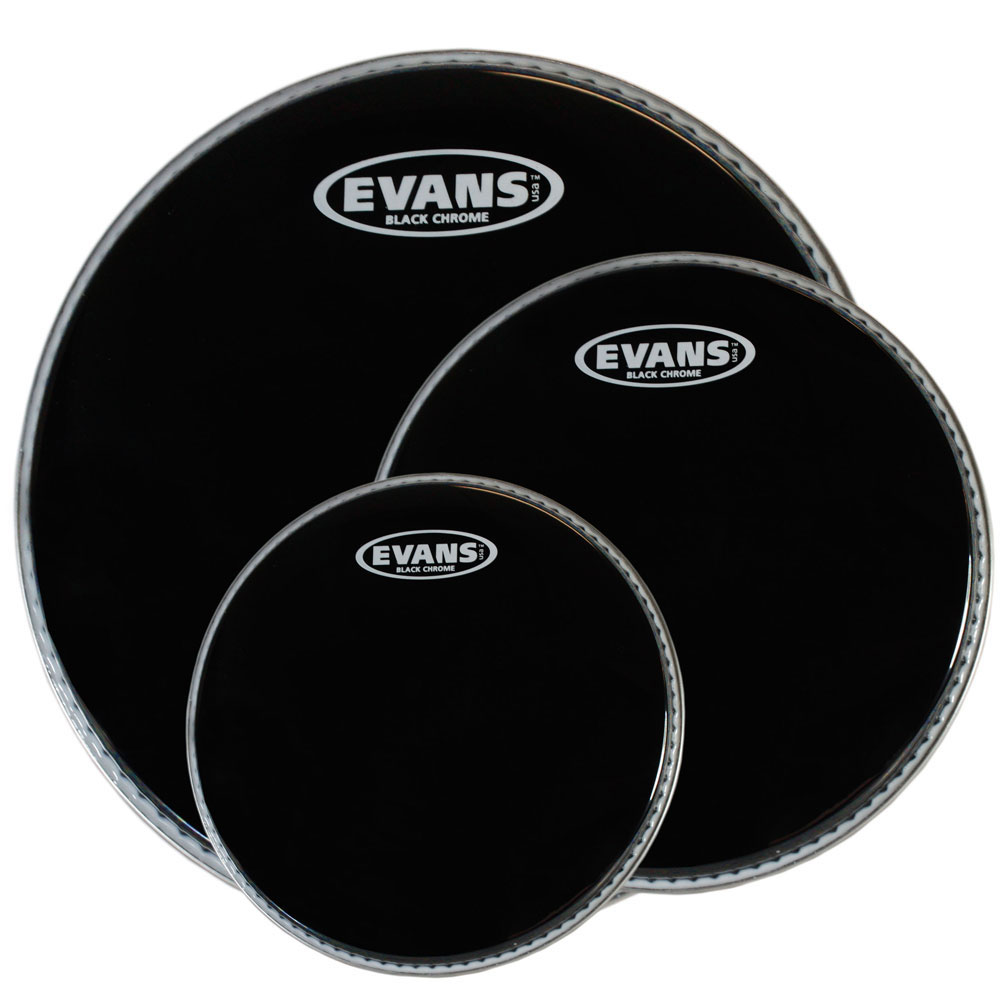 "Evans 10""/12""/16"" Black Chrome Rock Tom Head Pack"