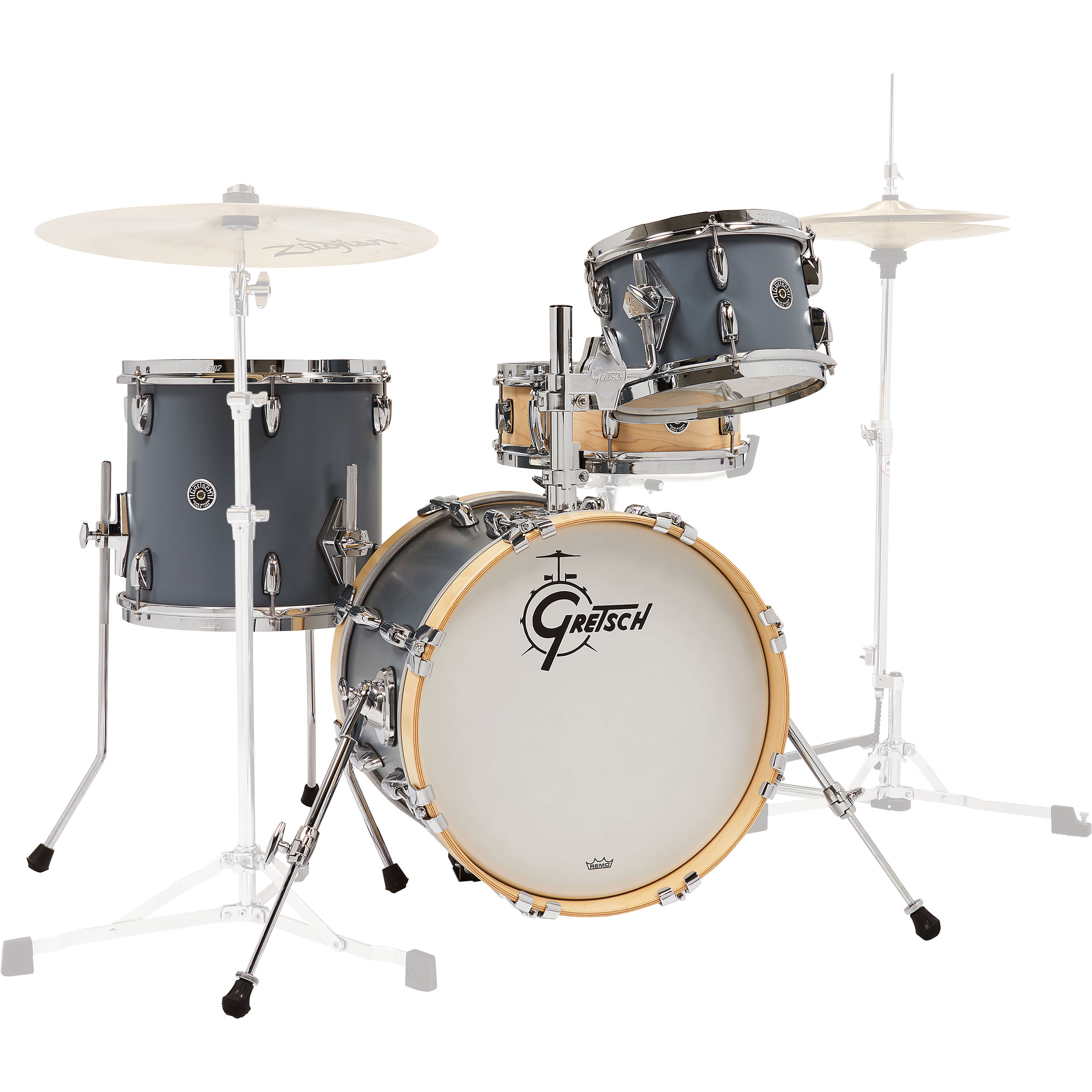 "Gretsch Brooklyn Micro Kit Drum Set Shell Pack (16"" Bass, 10/13"" Toms, 13"" Snare) in Satin Gray/Satin Natural"
