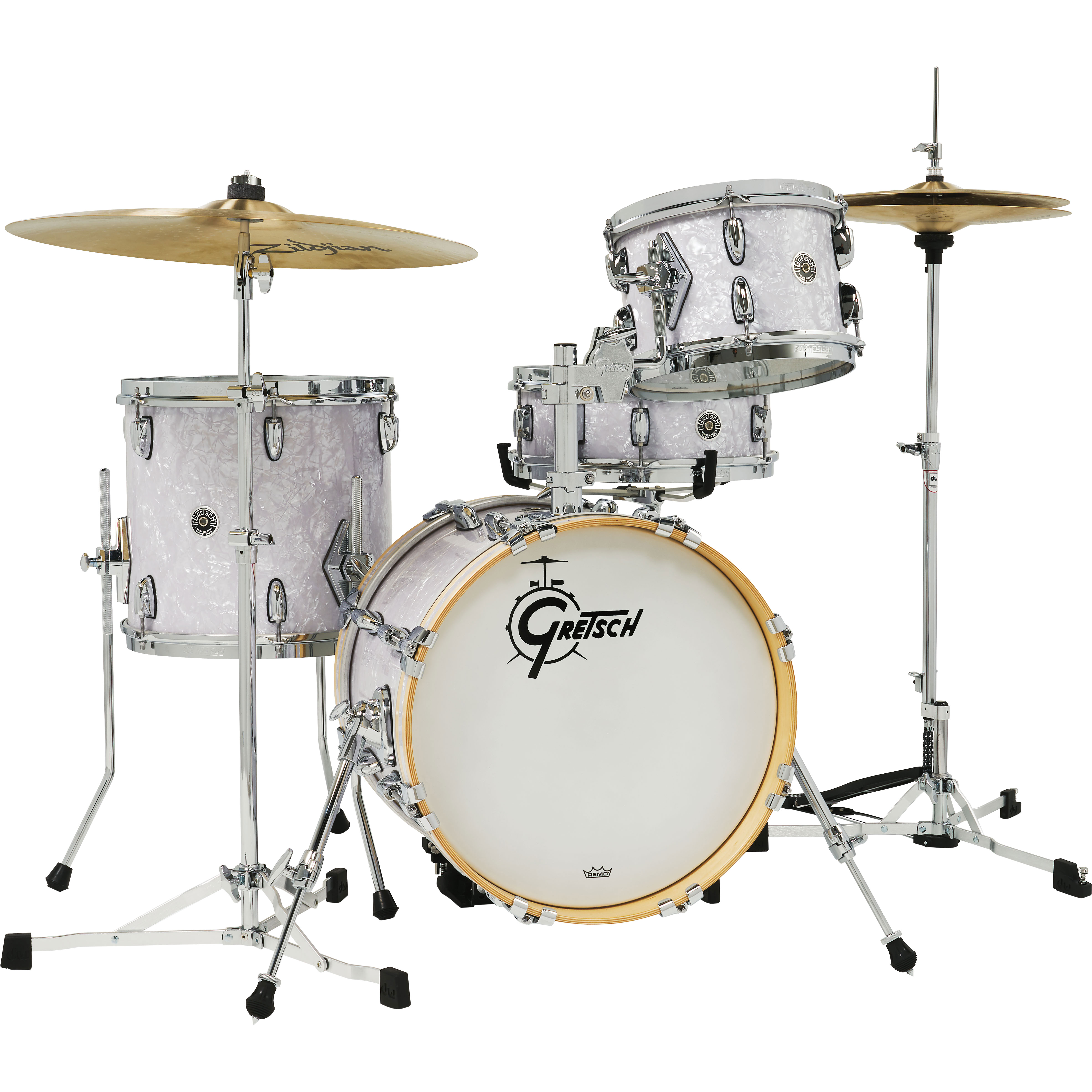 """Gretsch Brooklyn 4-Piece Micro Kit Drum Set Shell Pack (16"""" Bass, 10/13"""" Toms, 13"""" Snare) in White Marine Pearl"""