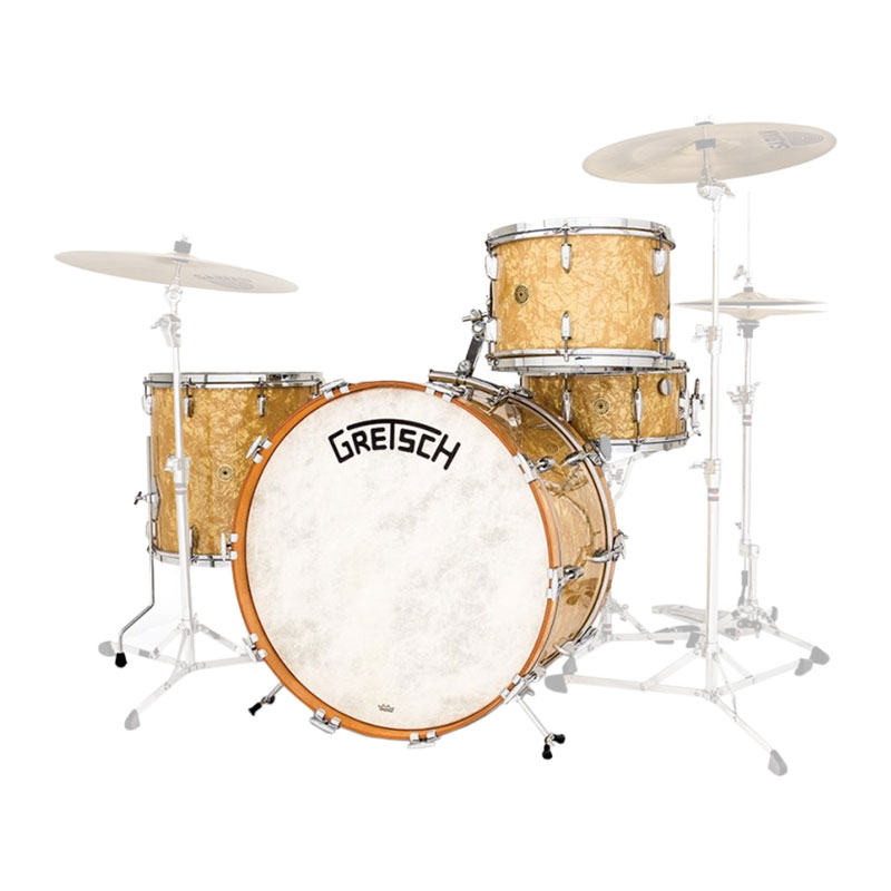 """Gretsch Broadkaster 4-Piece Drum Set Shell Pack (24"""" Bass, 13/16"""" Toms, 14"""" Snare) in Antique Pearl"""