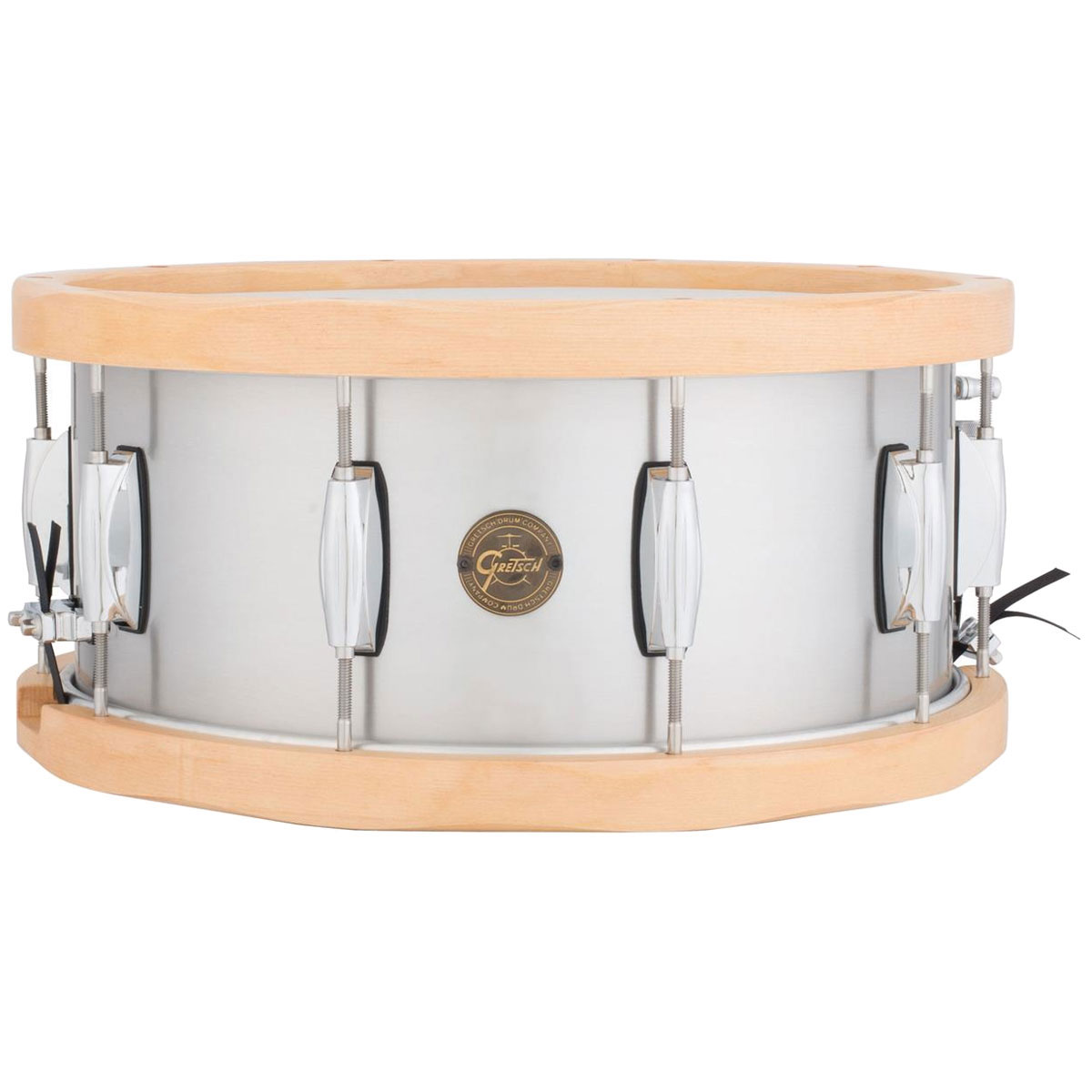 "Gretsch 6.5"" x 14"" Full Range Aluminum Snare Drum with Wood Hoops"