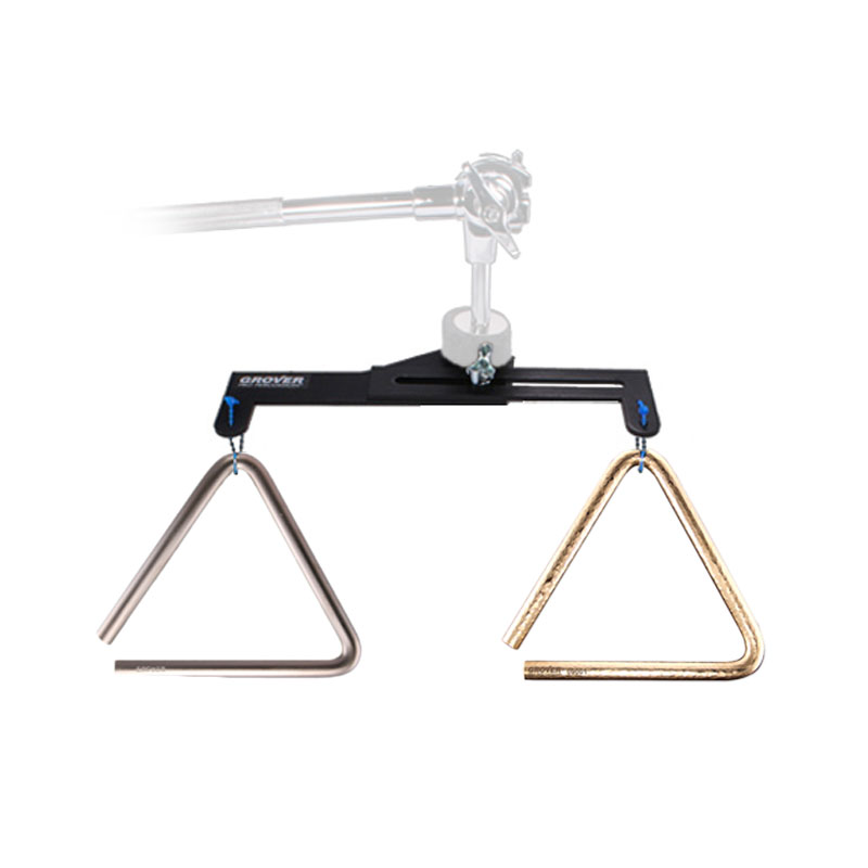 "Grover Pro 6"" Bronze Pro-Hammered/6"" Super Overtone Triangles with FREE Dual Triangle Mount"