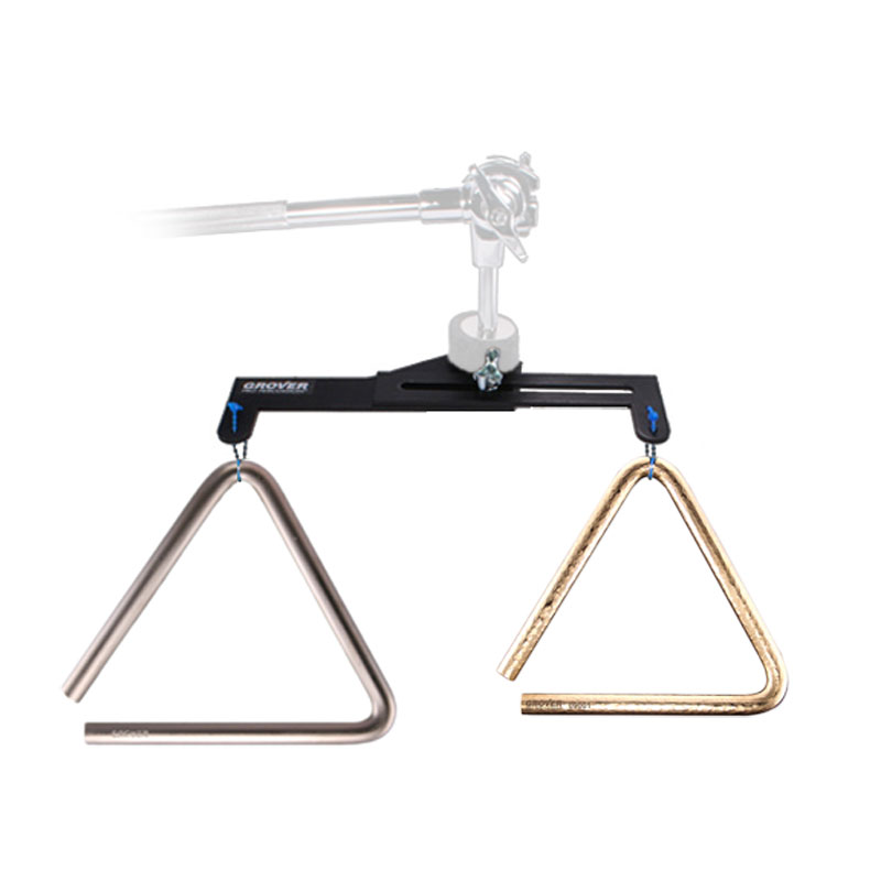 "Grover Pro 6"" Bronze Pro-Hammered/9"" Super Overtone Triangles with FREE Dual Triangle Mount"