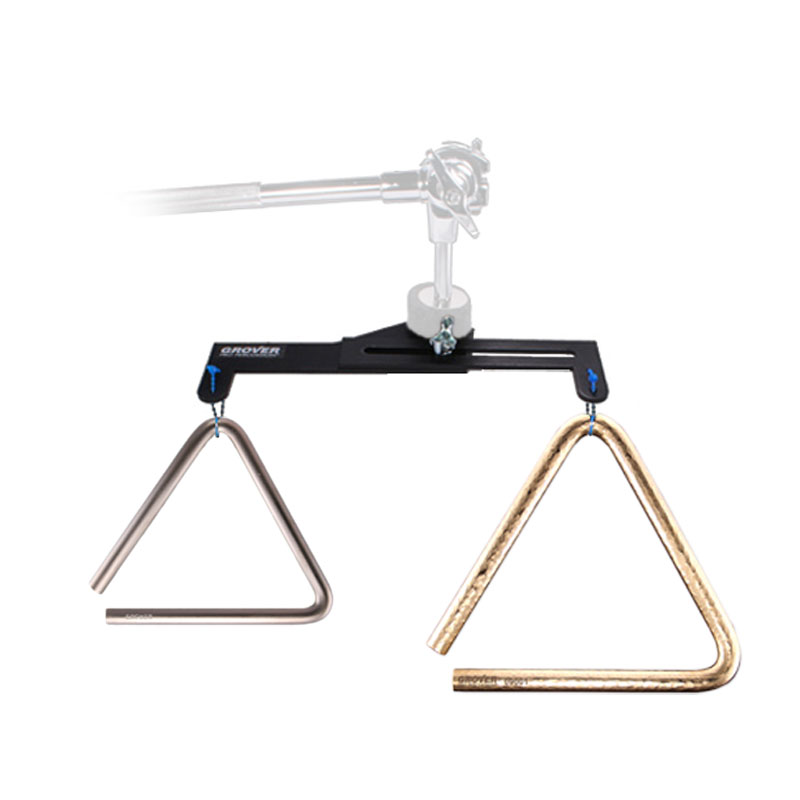 "Grover Pro 8"" Bronze Pro-Hammered/5"" Super Overtone Triangles with FREE Dual Triangle Mount"