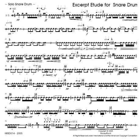 Excerpt Etude for Snare Drum by Matthew Beck