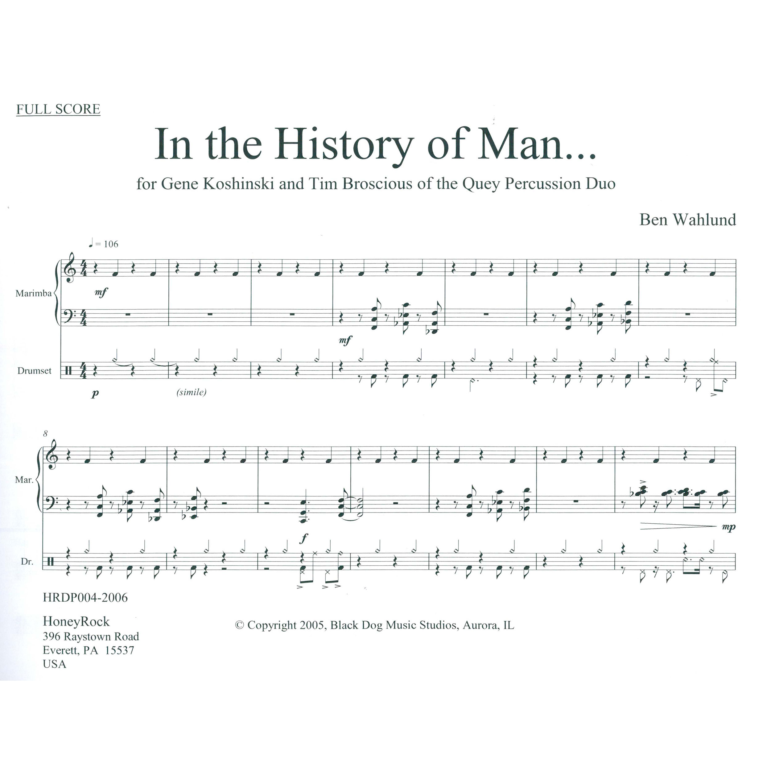 In The History Of Man By Ben Wahlund For Drum Set Marimba Multi