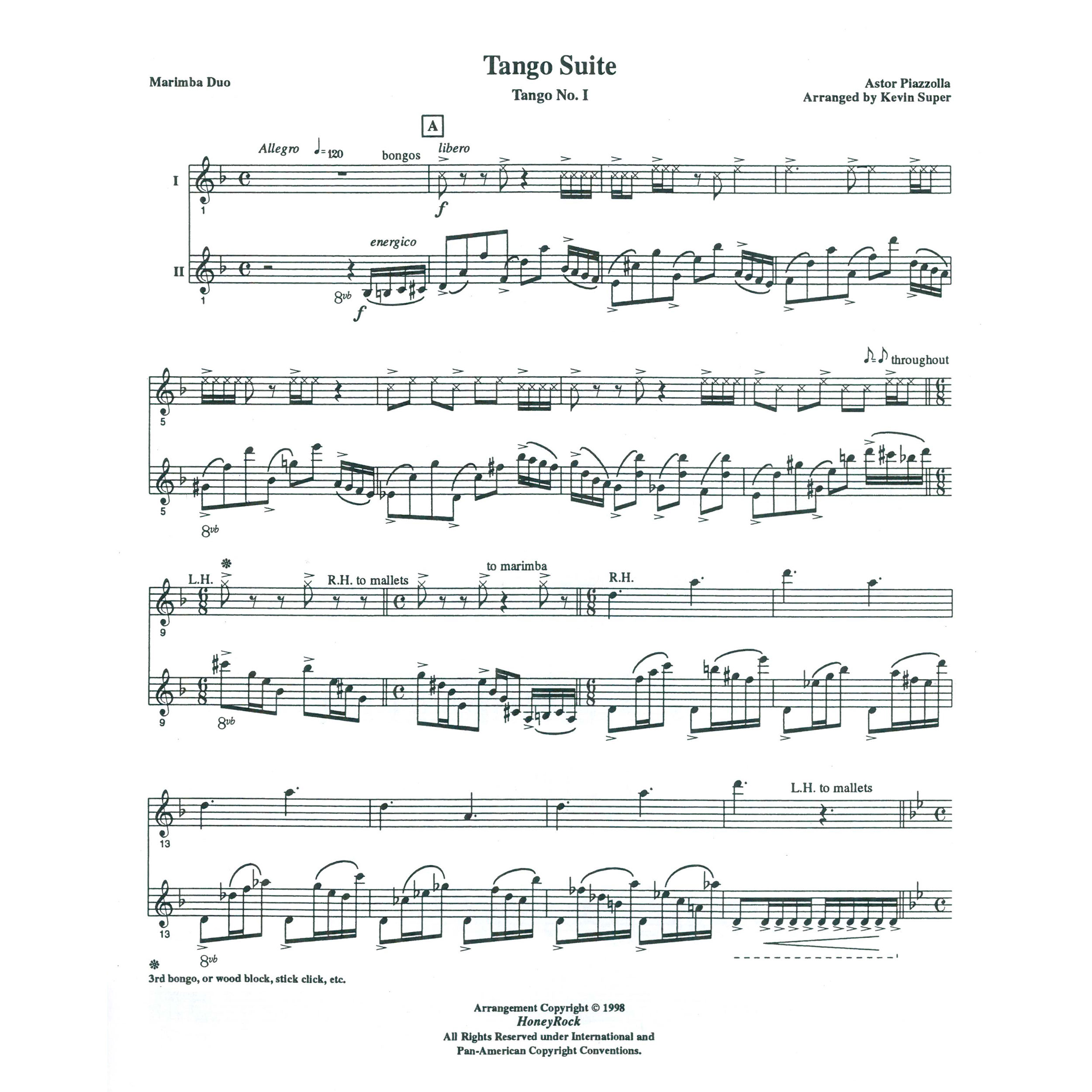 Tango Suite Mvt  I by Astor Piazzolla arr  Kevin Super