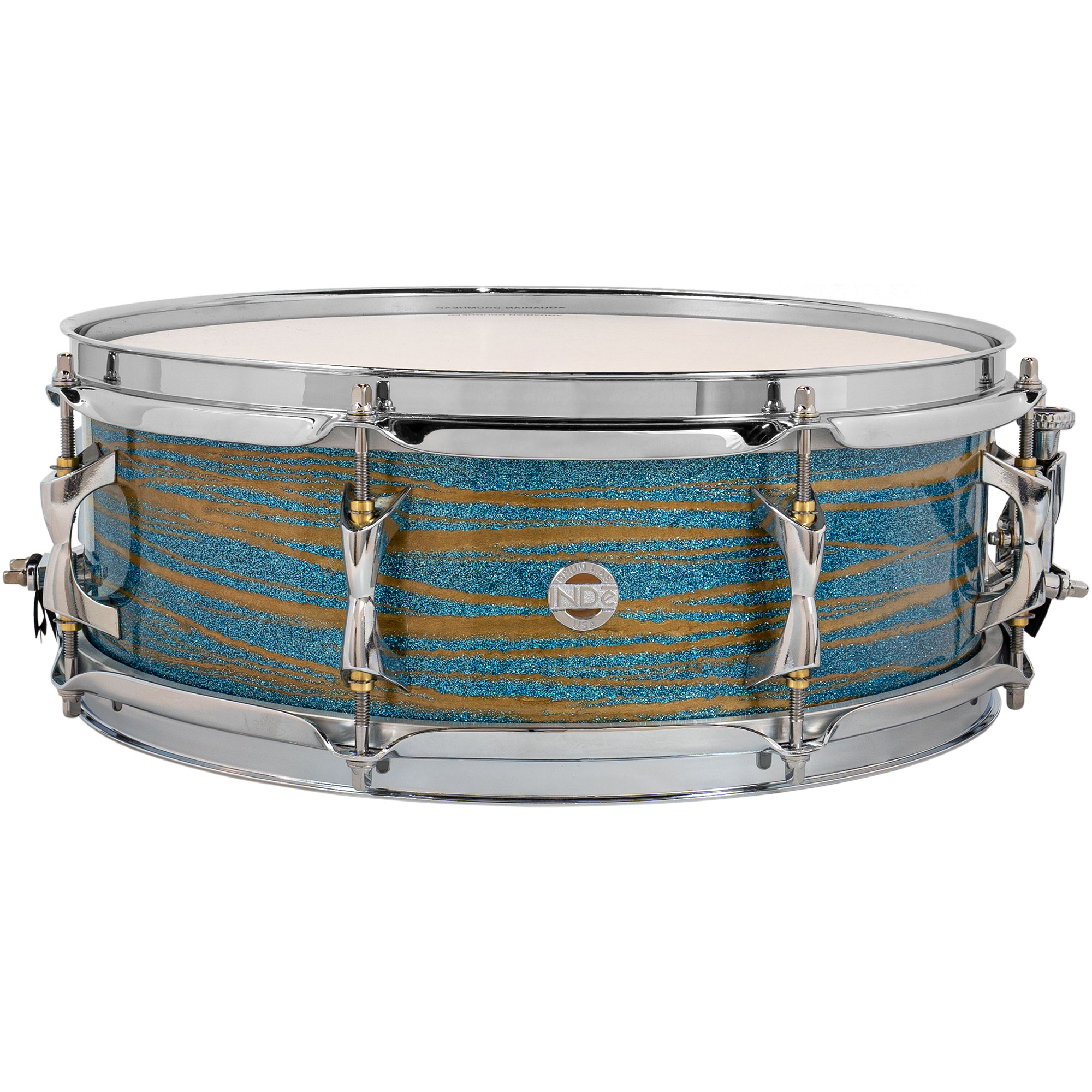 "Inde 5"" x 14"" ResoArmor Snare Drum in Blue Sparkle with Gold Swirl (Demo)"