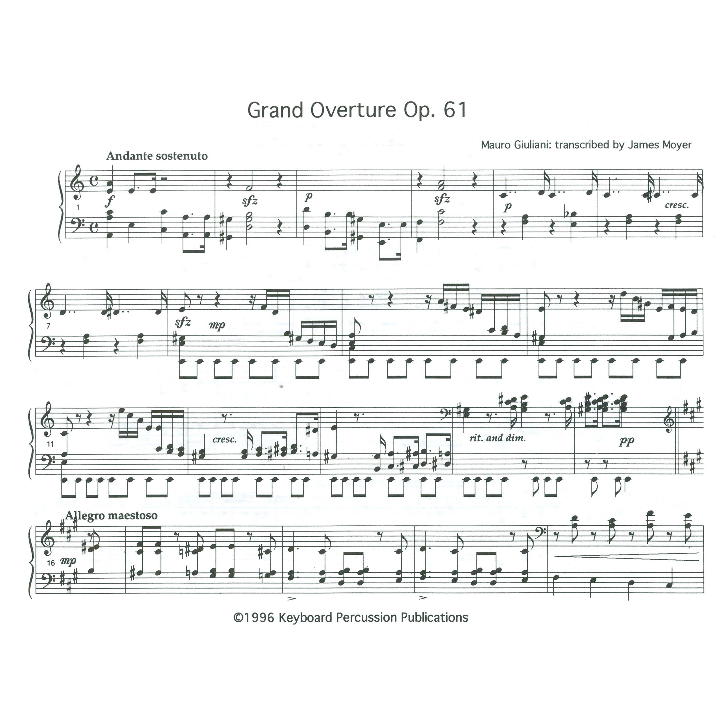 James Moyer; Alternate Image for Grand Overture Op. 61 by Mauro Giuliani trans.
