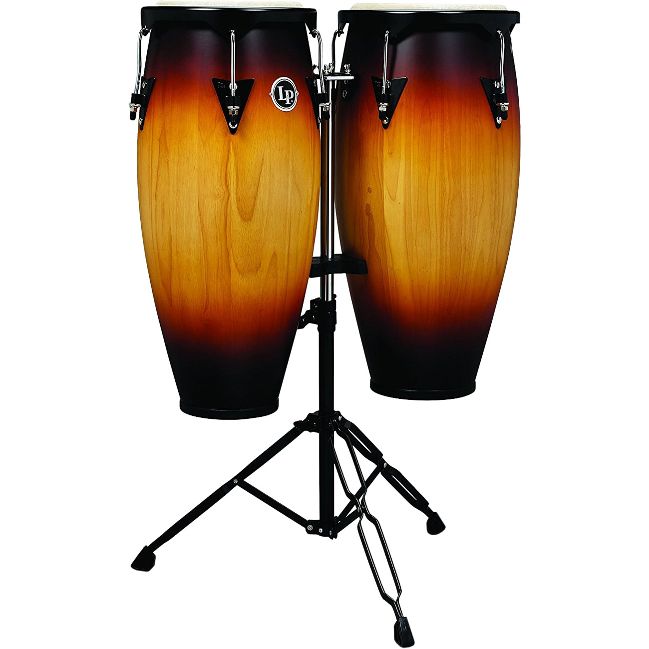 """LP 10"""" & 11"""" City Series Conga Set with Double Conga Stand in Vintage Sunburst"""