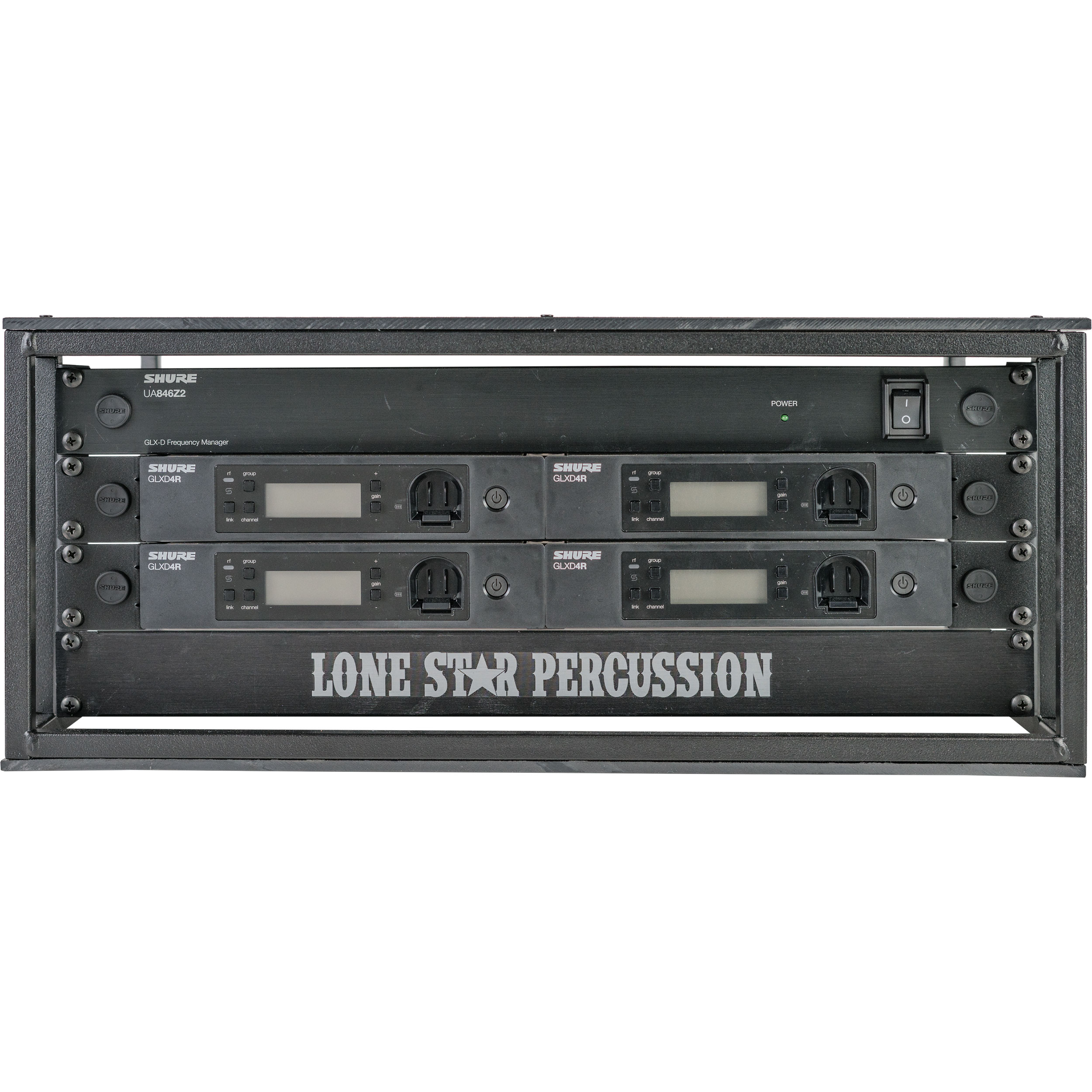 Lone Star Percussion Pre-Wired 4-Channel GLX-D Wireless System with Pageantry Innovations Rack