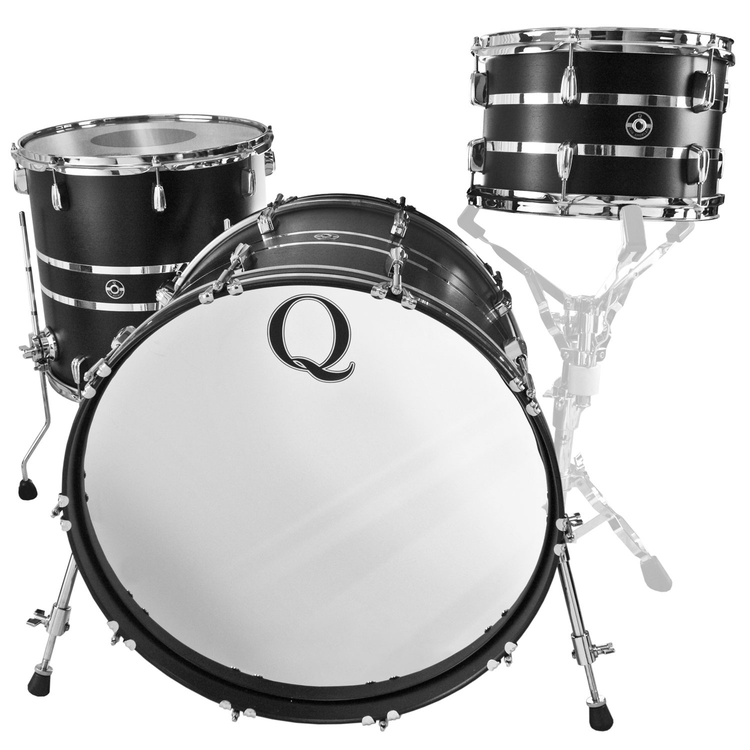 "Q Drum Co. Mahogany/Poplar 3-Piece Drum Set Shell Pack (22"" Bass, 12/16"" Toms) in Black Satin with Two Chrome Inlays"