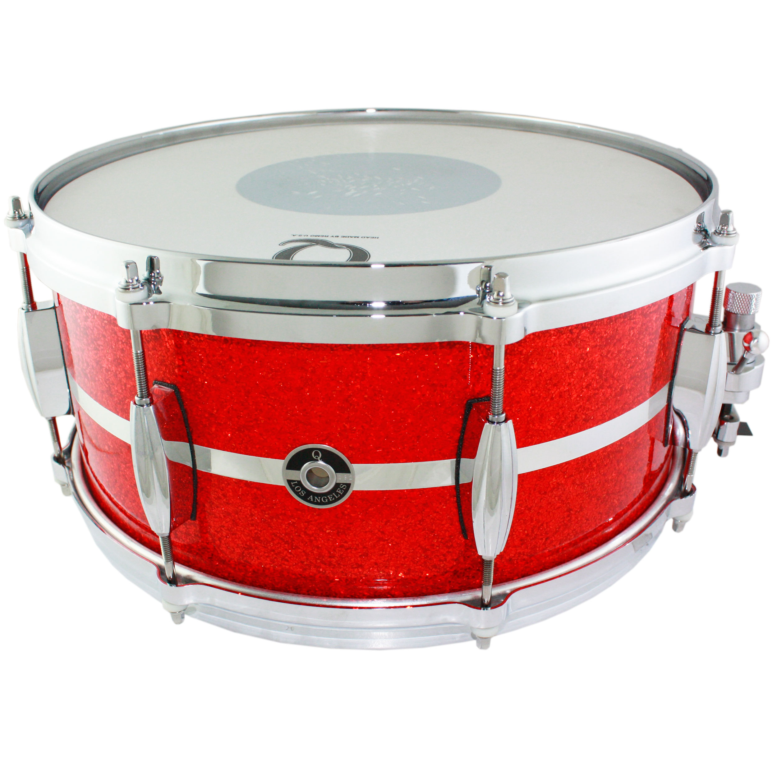 """Q Drum Co. 6.5""""x 14"""" Maple Snare Drum in Tangerine Glass Glitter with Chrome Inlay"""