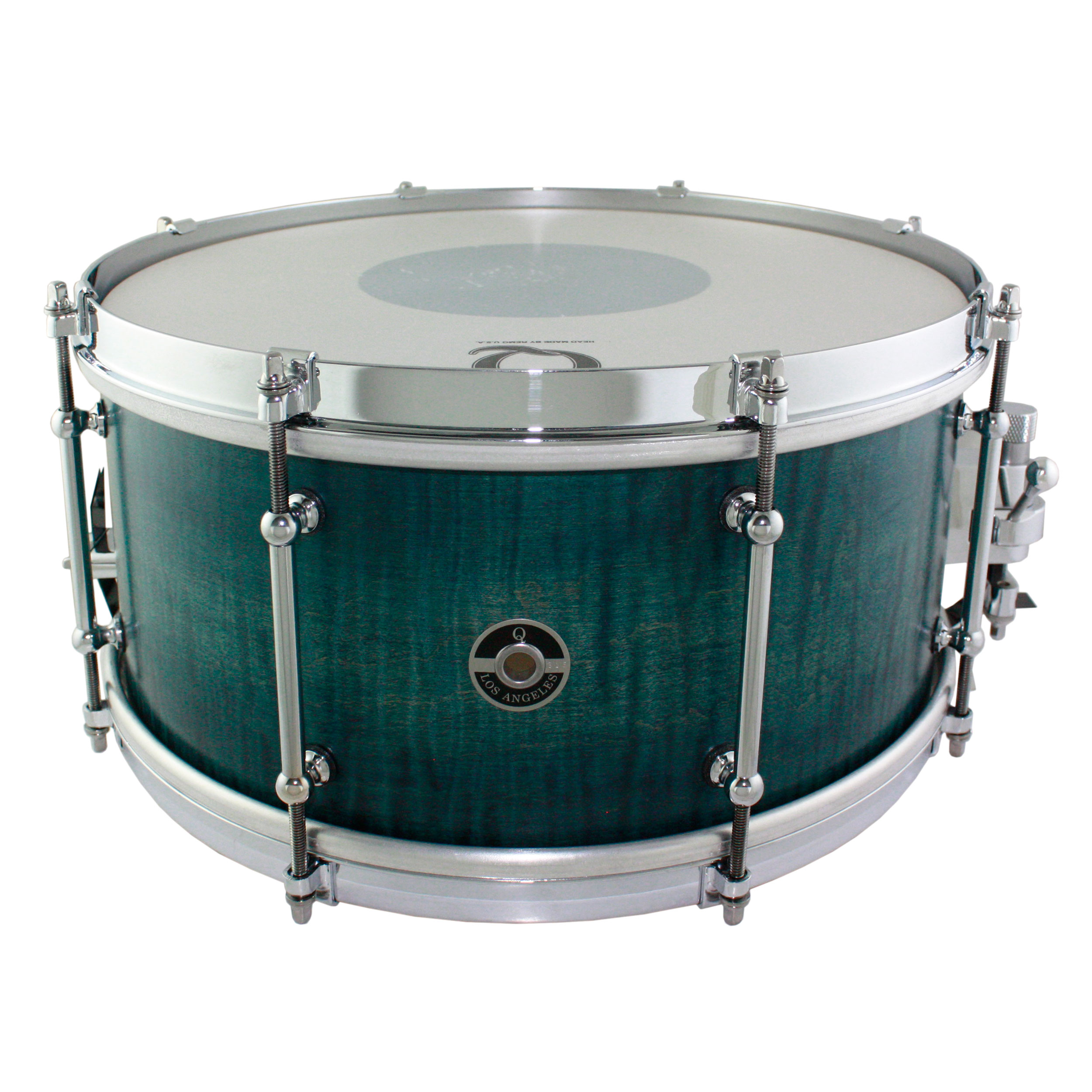 """Q Drum Co. 7"""" x 14"""" Maple Snare Drum in Blue Satin Stain"""