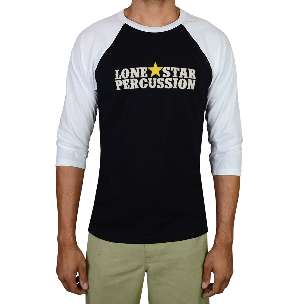 Lone Star Percussion Black & White 3/4 Sleeve Horizontal Logo Drummer T-Shirt