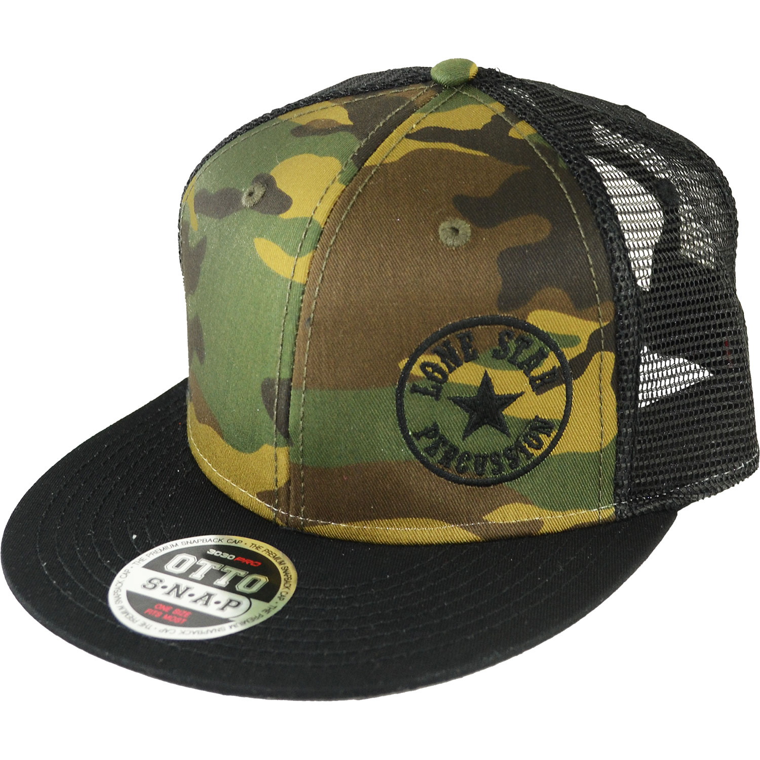 Lone Star Percussion Camo & Black Mesh Trucker/Baseball Cap