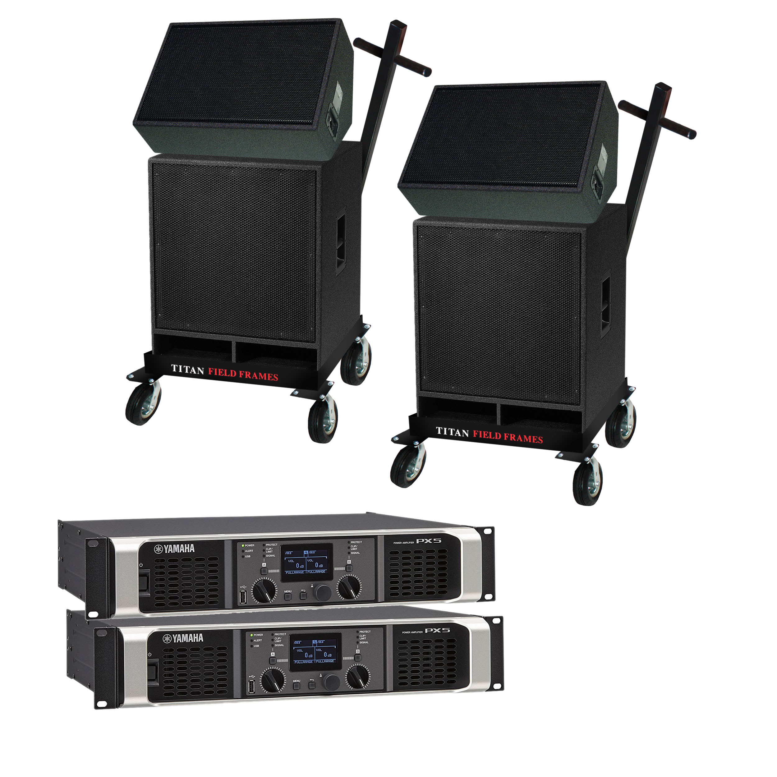 Lone Star Percussion 3000 Series Marching Audio Speaker/Amp/Cart Package