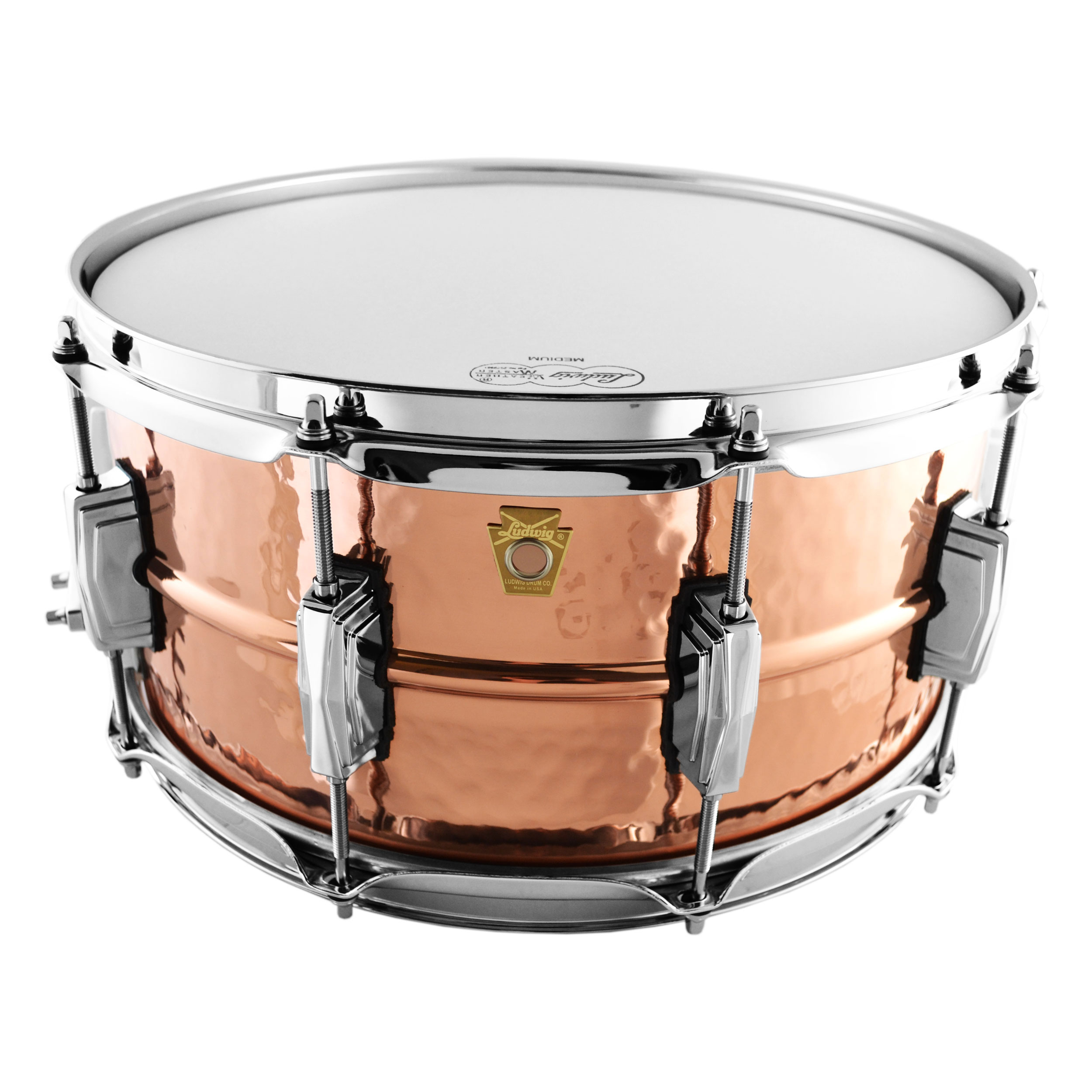 "Ludwig 6.5"" x 14"" Hammered Copper Phonic Snare Drum with Imperial Lugs"