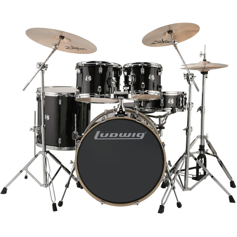 "Ludwig Element Evolution 5-Piece Drum Set (22"" Bass, 10/12/16"" Toms, 14"" Snare) with Hardware & Cymbals"