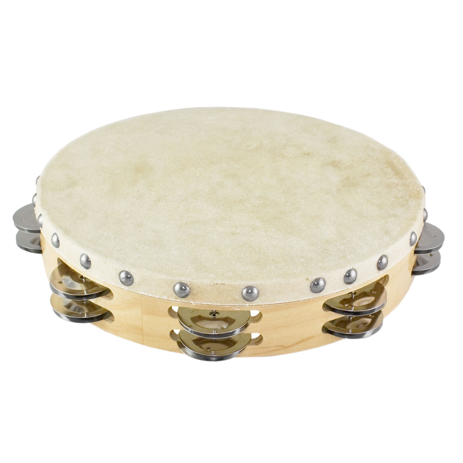 "Ludwig 10""  Double Row Steel Tambourine (Natural Head)"
