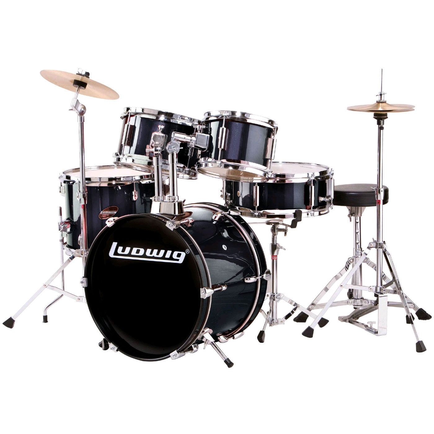 "Ludwig 5-Piece Junior Drum Set with Hardware (16"" Bass, 8/10/13"" Toms)"