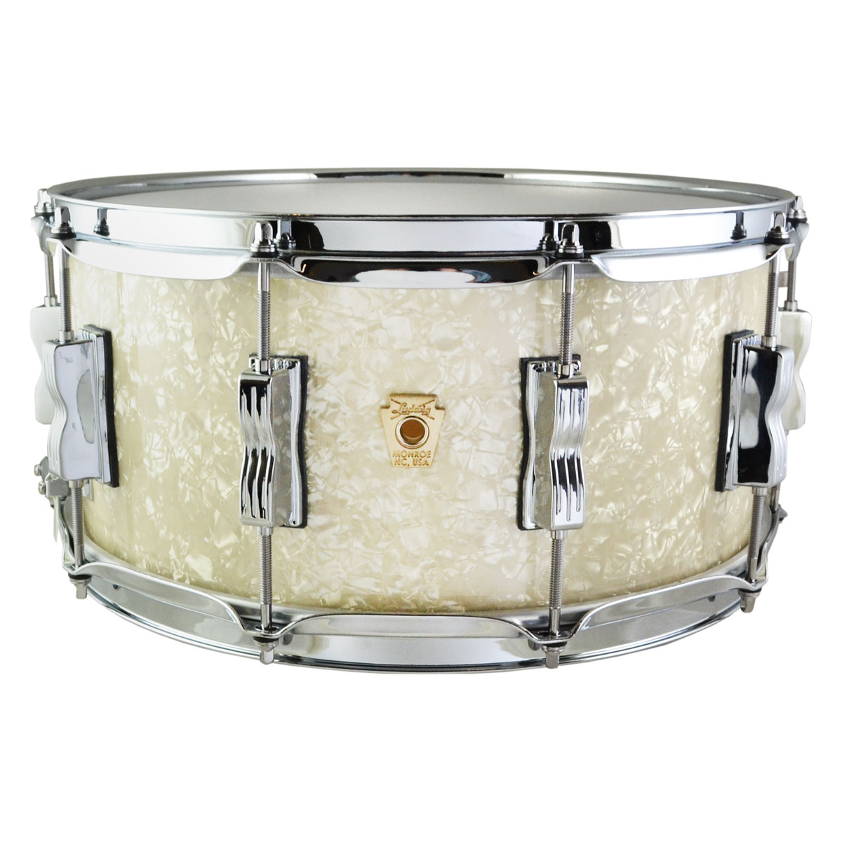 """Ludwig 6.5"""" x 14"""" Classic Maple Snare Drum with Streamline Lugs in Vintage White Marine"""