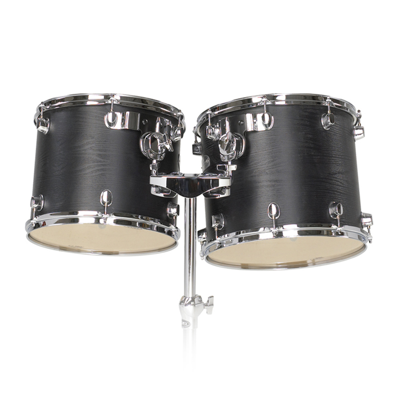 "Majestic 13"" & 14"" Double-Headed Concert Black Birch/Maple Concert Tom Set with Stand"