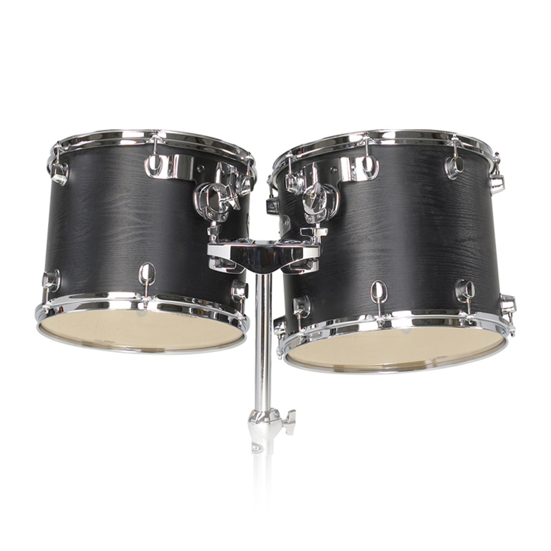 "Majestic 15"" & 16"" Double-Headed Concert Black Birch/Maple Concert Tom Set with Stand"