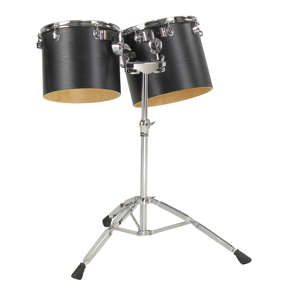 "Majestic 10"" & 12"" Single-Headed Concert Black Birch/Maple Concert Tom Set with Stand"