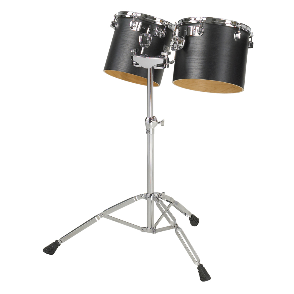 "Majestic 13"" & 14"" Single-Headed Concert Black Birch/Maple Concert Tom Set with Stand"