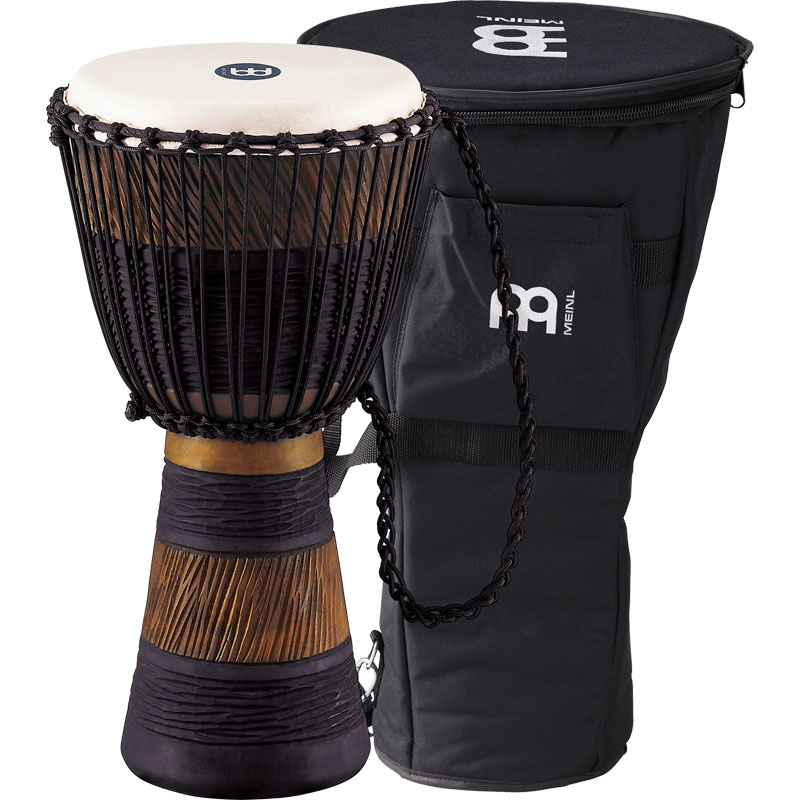 "Meinl 13"" Original African Style Earth Rhythm Rope-Tuned Wood Djembe with  Bag"