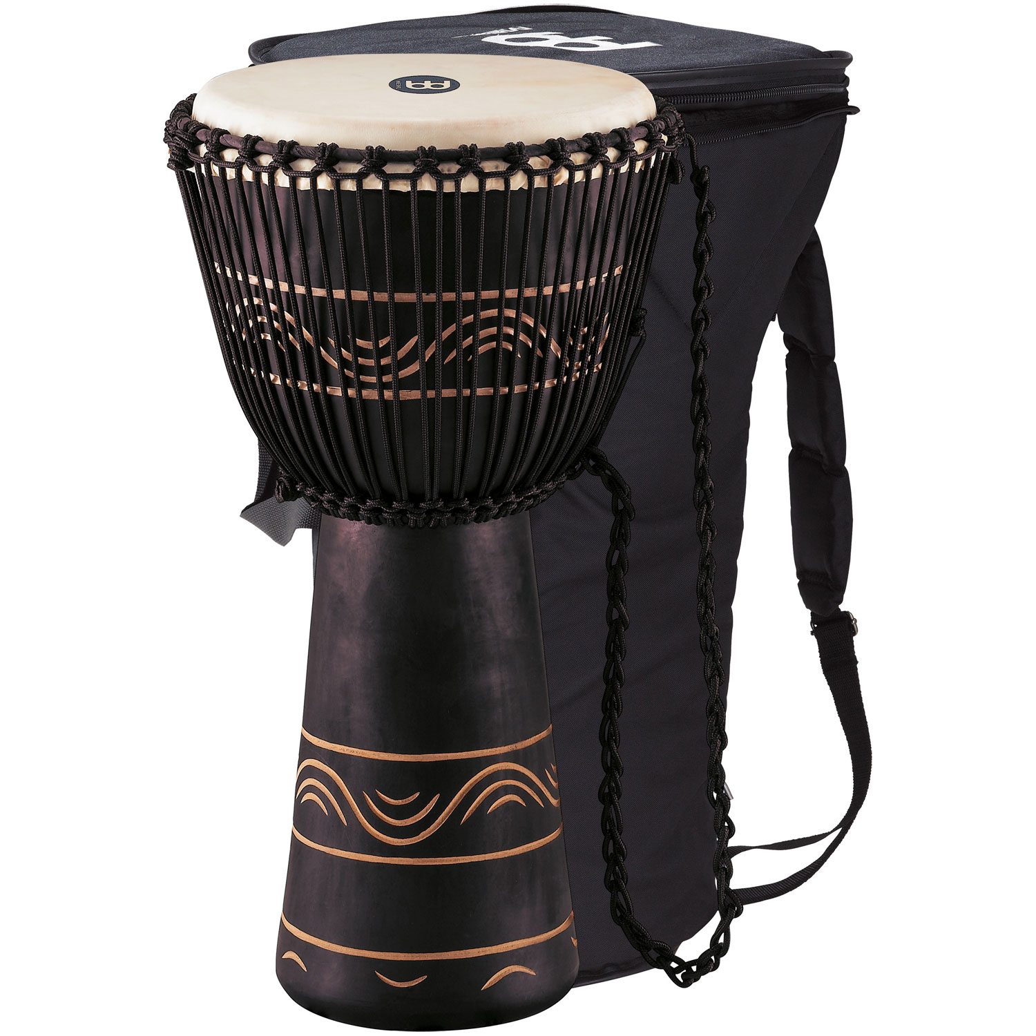 "Meinl 13"" Original African Style Black Rope-Tuned Wood Djembe with  Bag"