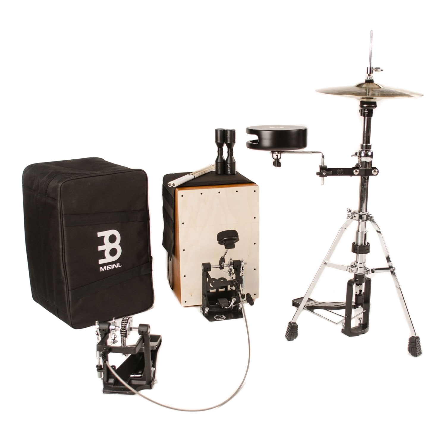 meinl cajon drum set package with free bag multi rods shaker caj drumset. Black Bedroom Furniture Sets. Home Design Ideas