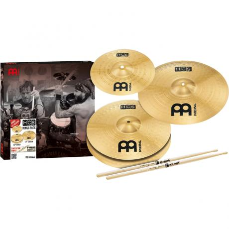 Meinl HCS Cymbal Box Set (Hi Hats, Crash, Splash, FREE Sticks & Lessons)