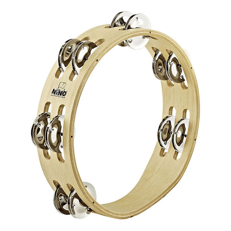 "Meinl Nino 8"" Double Row Tambourine in Nickel Silver"