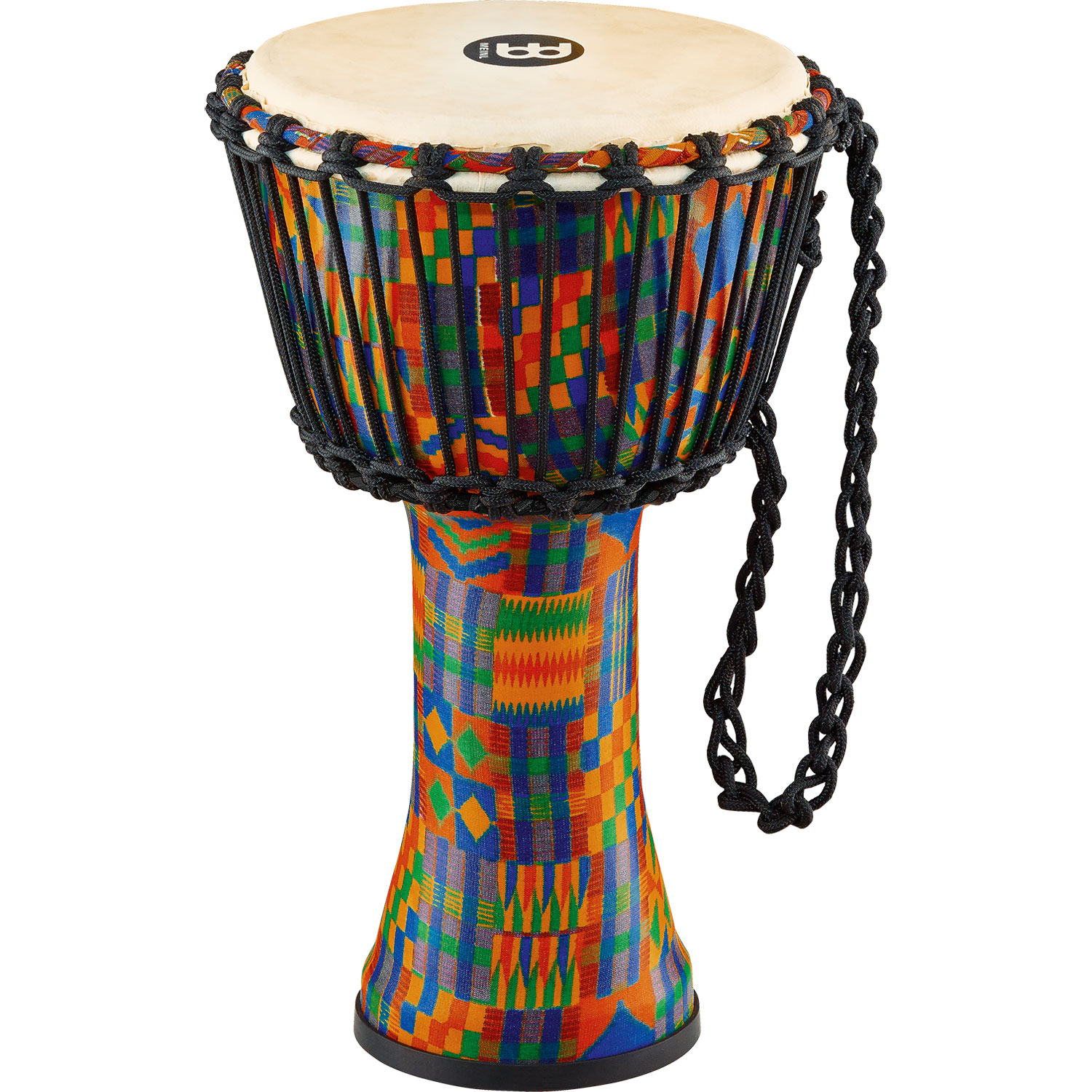 "Meinl 10"" Rope-Tuned Travel Djembe in Kenyan Quilt with Natural Head"