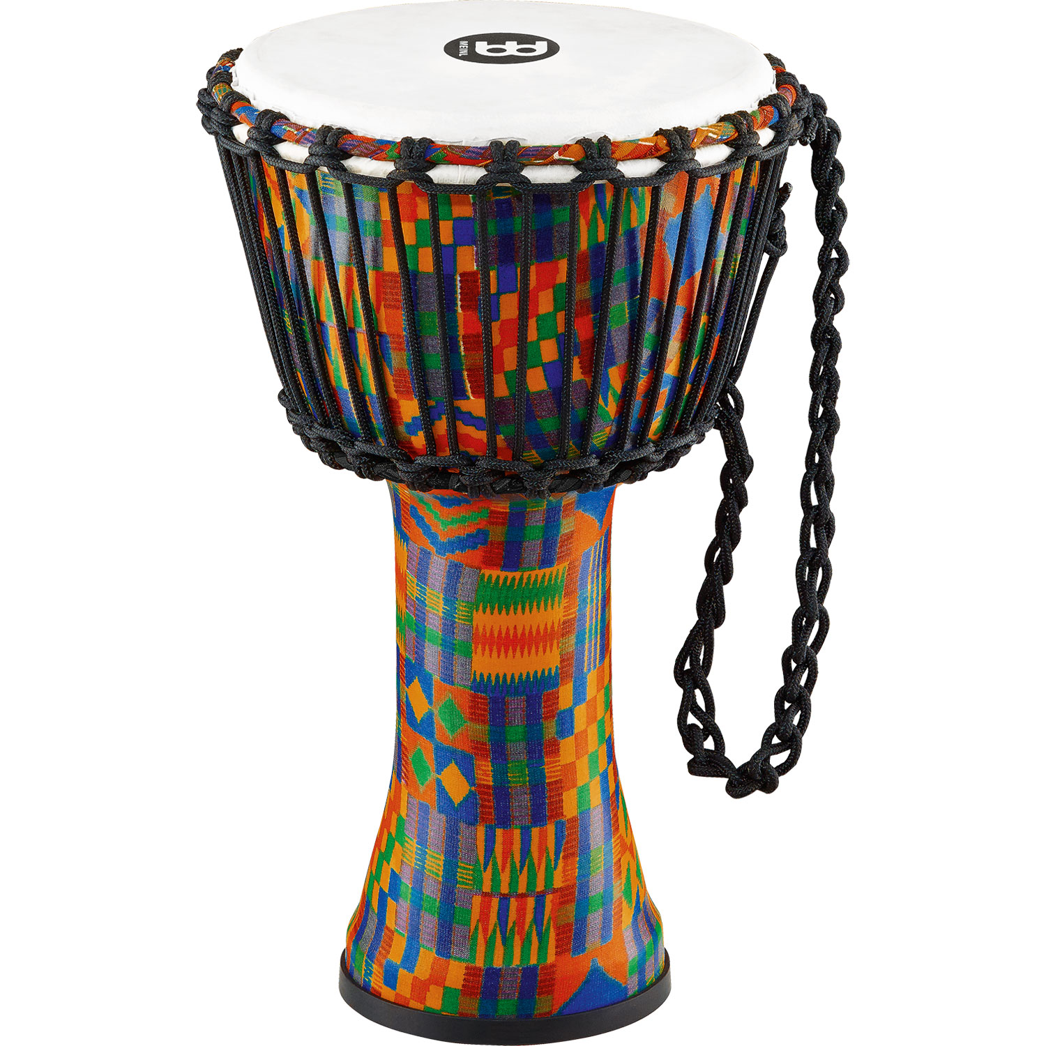 "Meinl 8"" Rope-Tuned Travel Djembe in Kenyan Quilt with Synthetic Head"