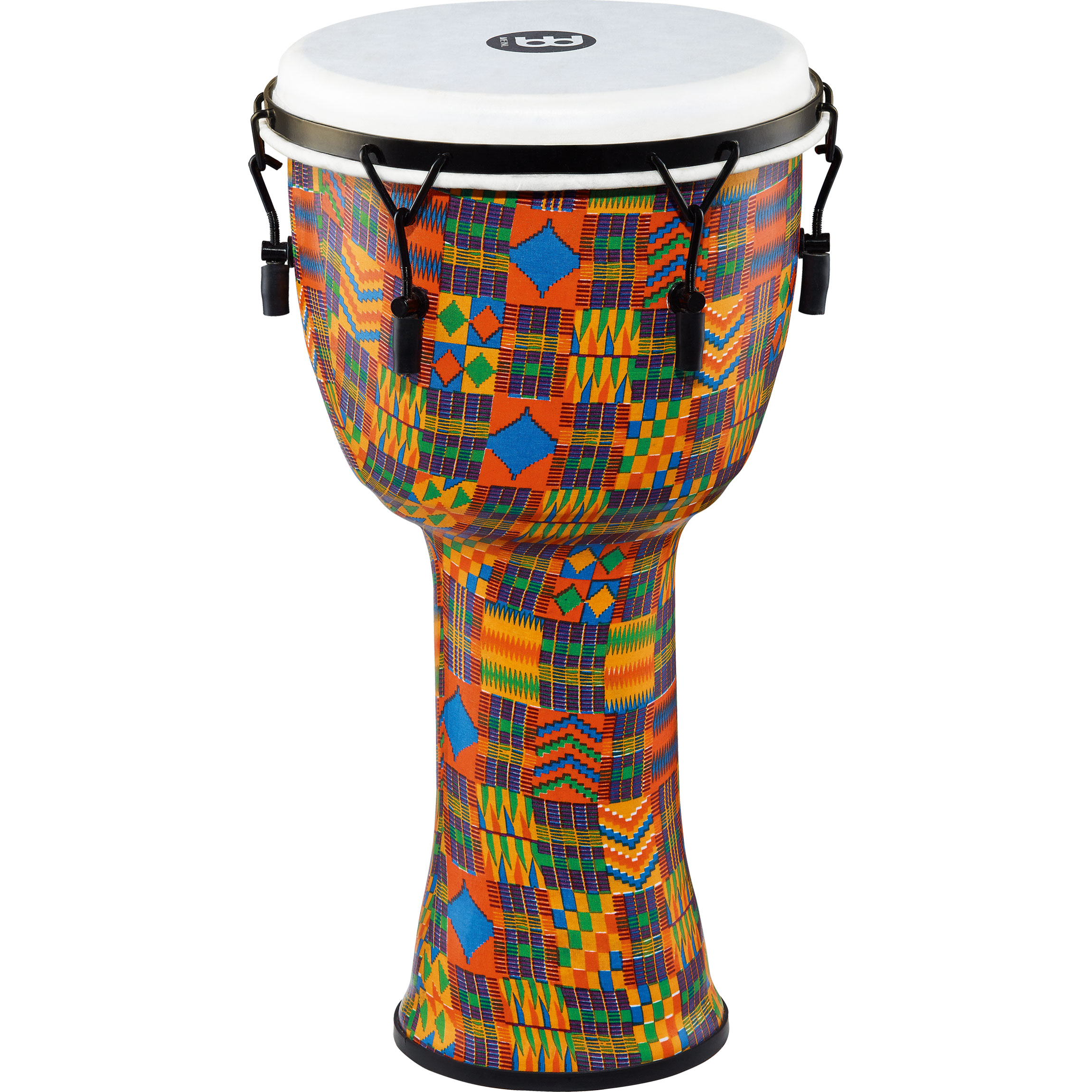 "Meinl 12"" Mechanically-Tuned Travel Djembe in Kenyan Quilt with Synthetic Head"