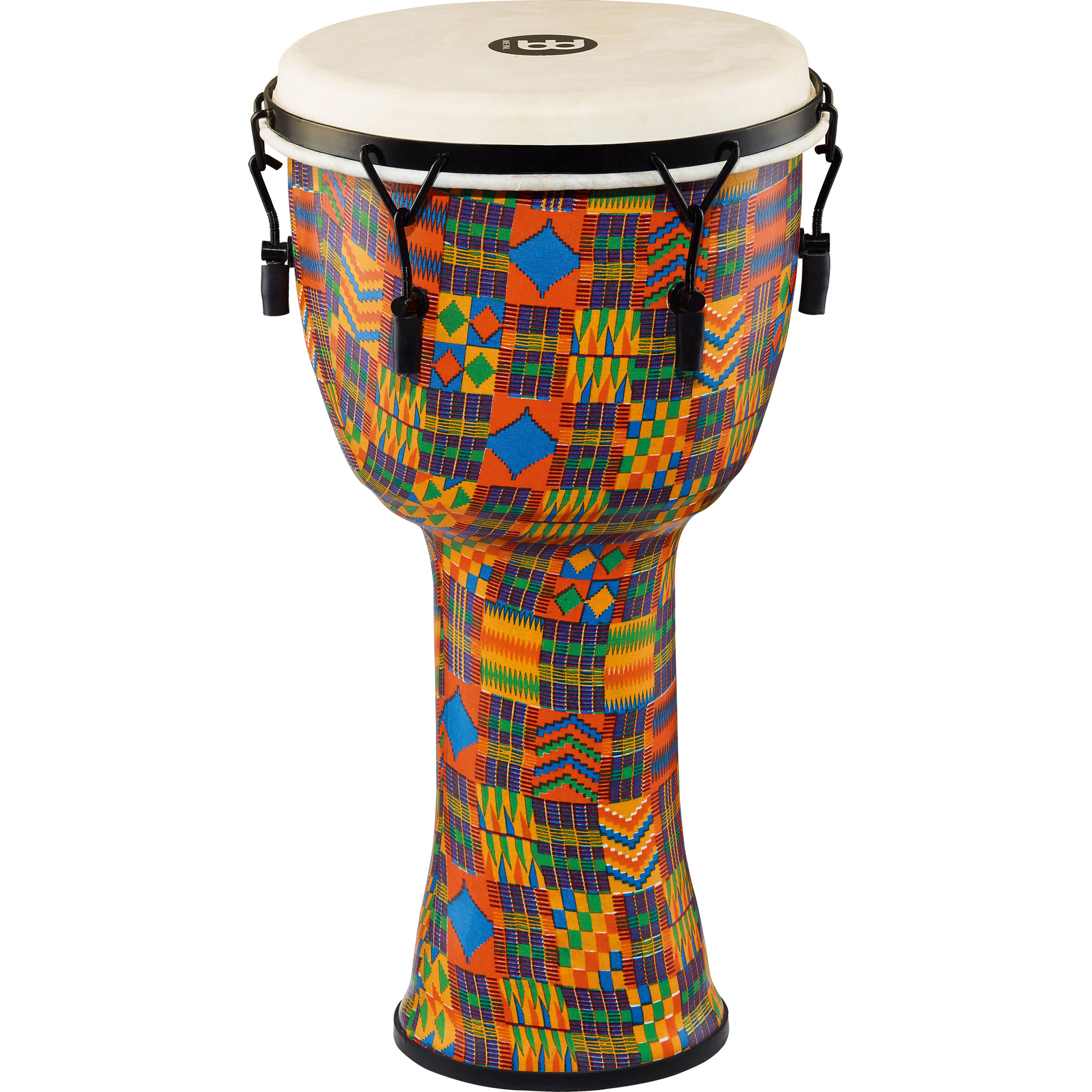 "Meinl 12"" Mechanically-Tuned Travel Djembe in Kenyan Quilt with Natural Head"